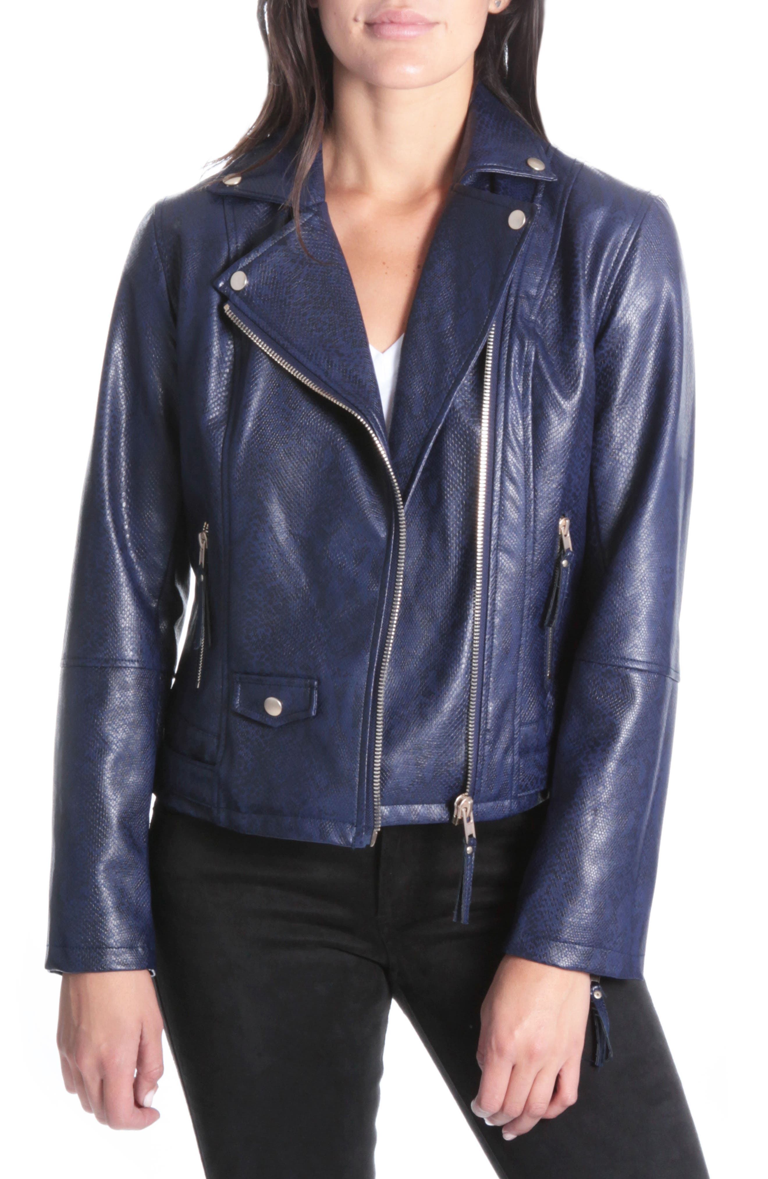 Brooke Faux Leather Moto Jacket,                             Main thumbnail 1, color,                             416