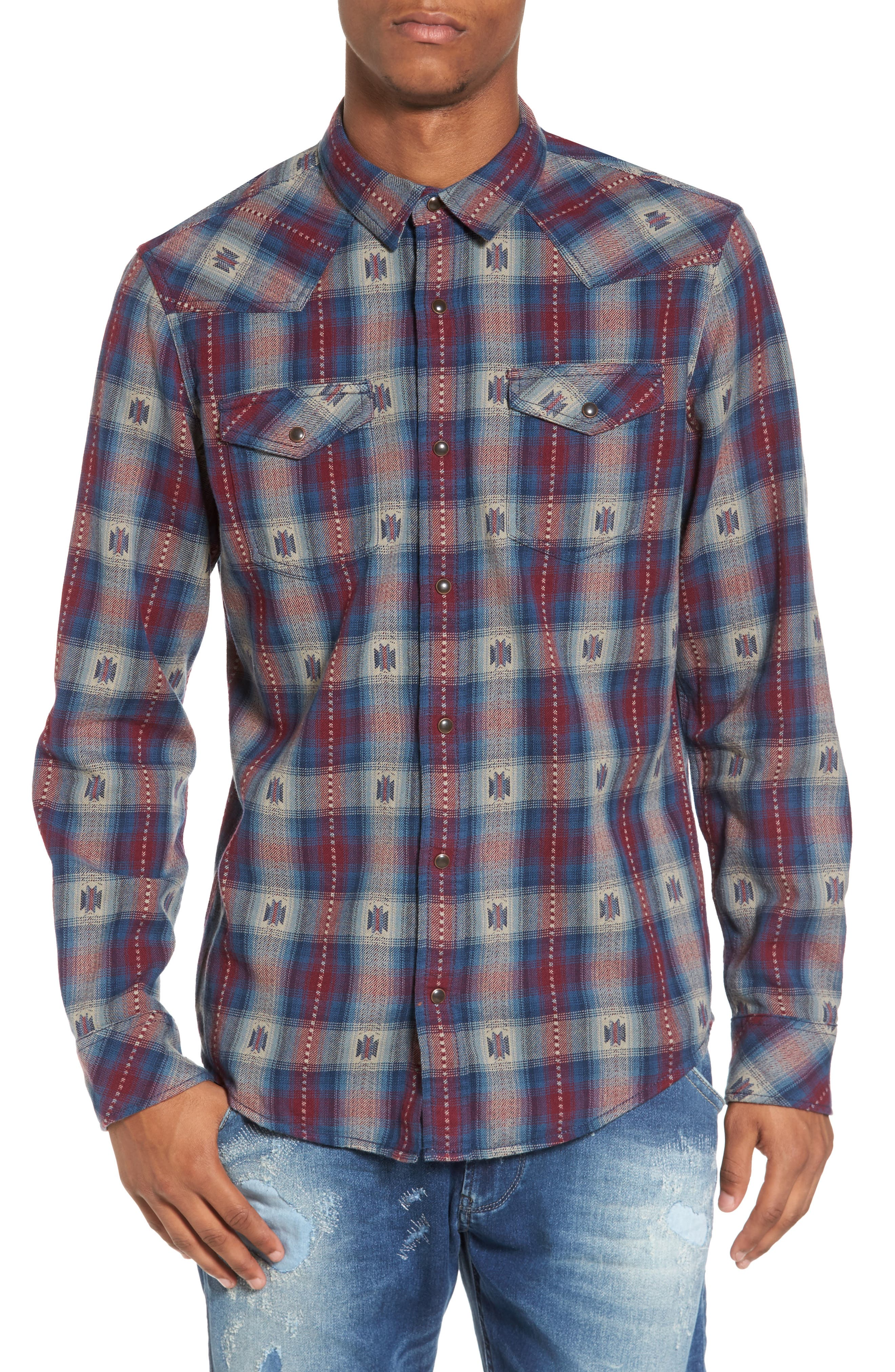 Feliz Dobby Plaid Western Shirt,                             Main thumbnail 2, color,