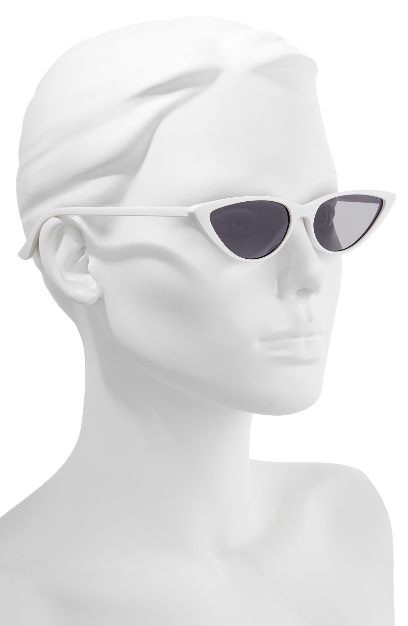 55mm Cat Eye Sunglasses,                             Alternate thumbnail 2, color,                             WHITE