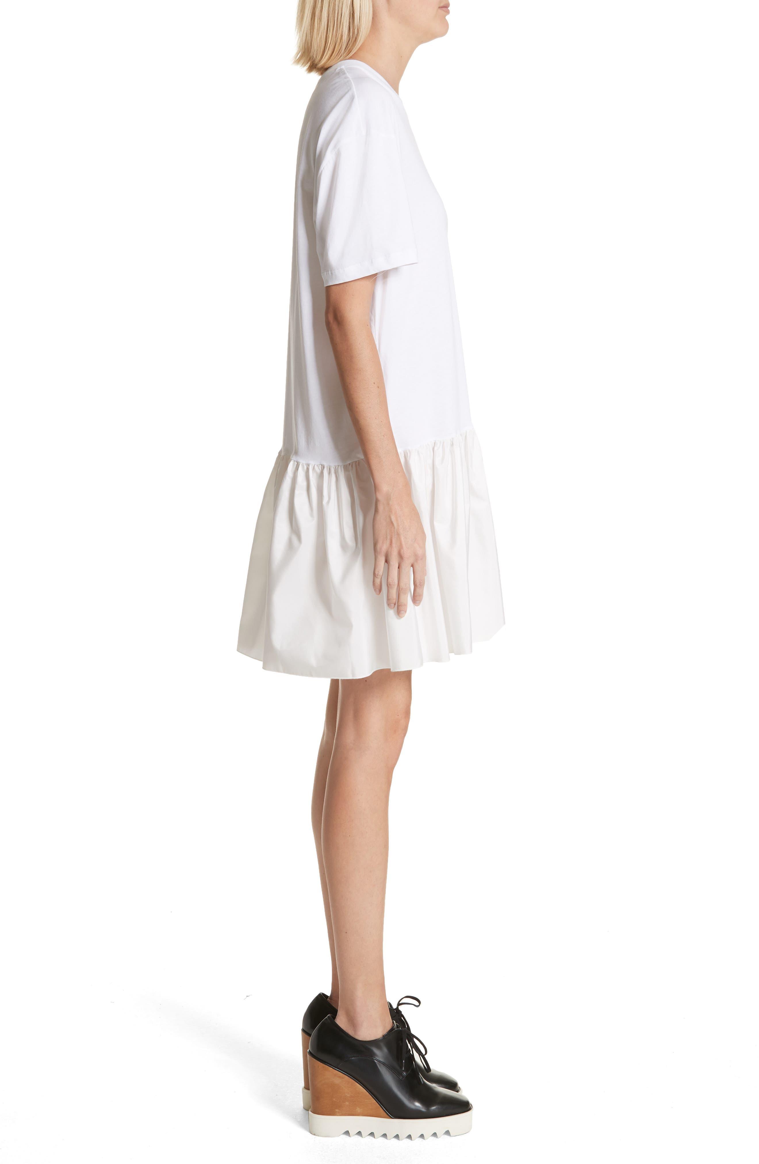 Drop Waist Taffeta Hem T-Shirt Dress,                             Alternate thumbnail 3, color,                             100