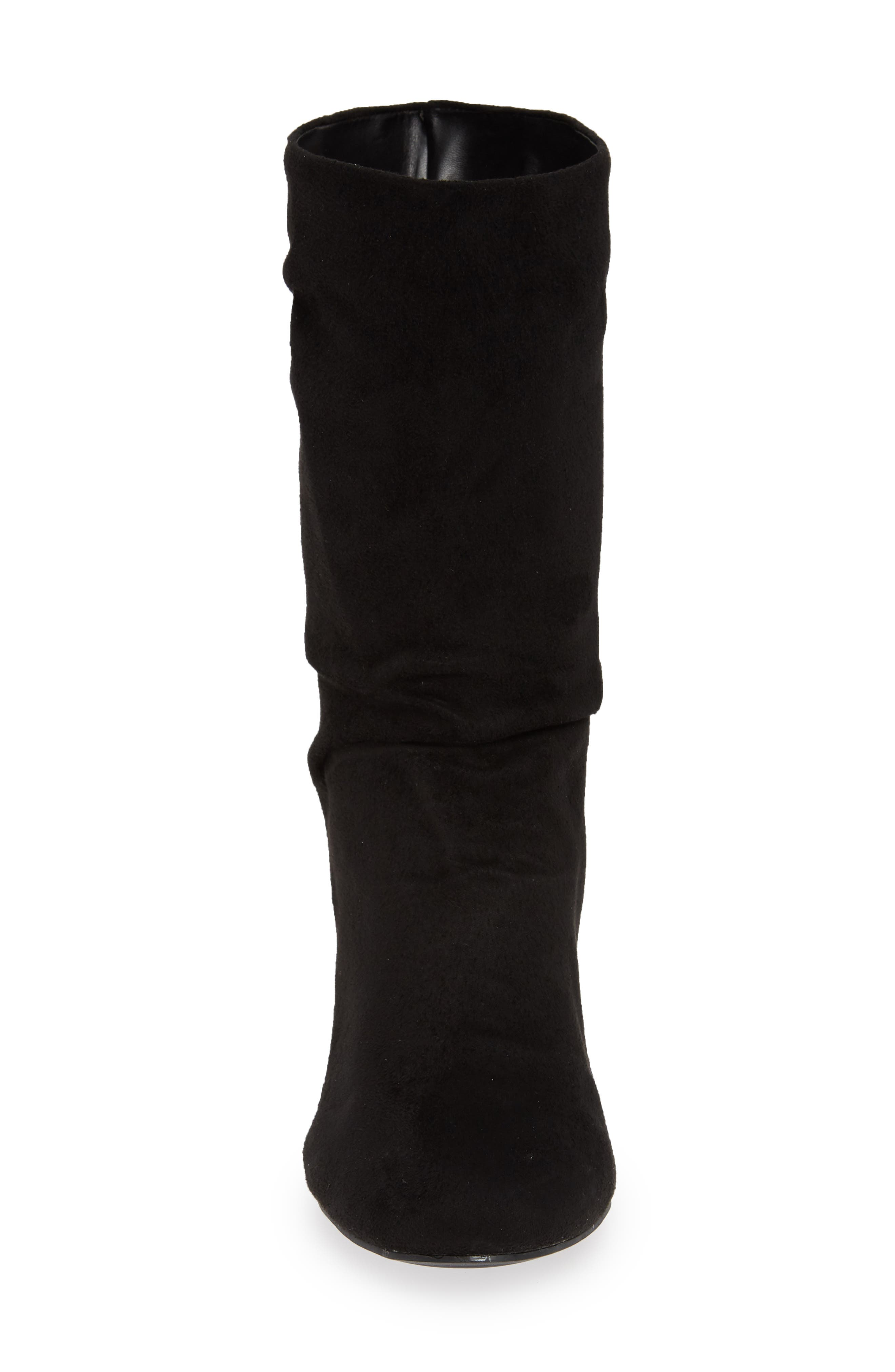 Steffani Slouchy Pull-On Bootie,                             Alternate thumbnail 4, color,                             BLACK