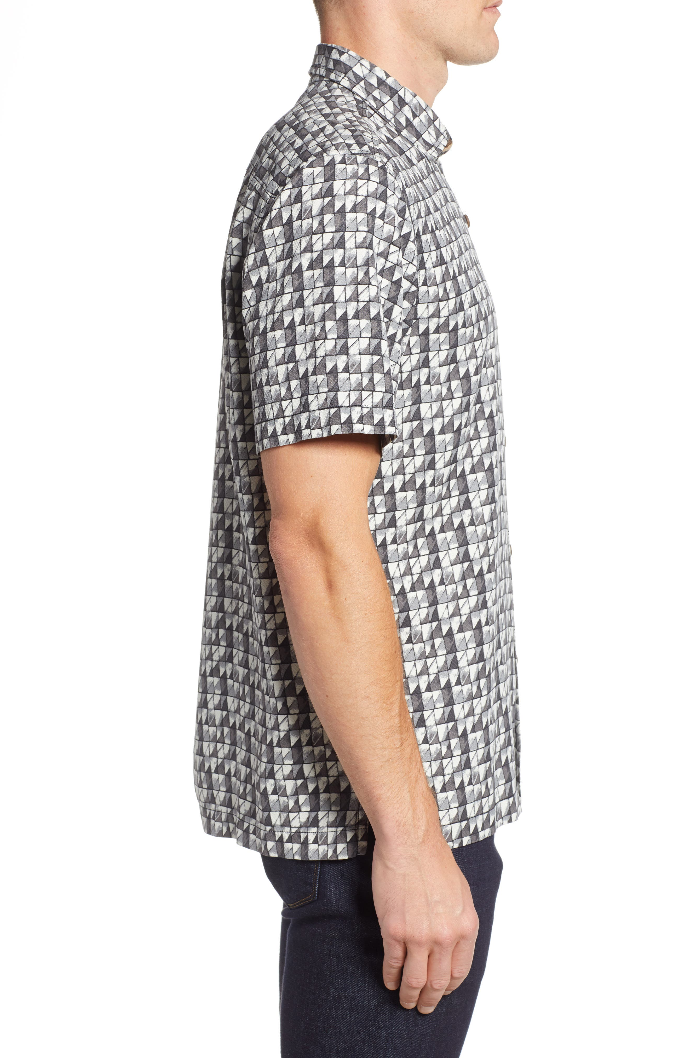 Poquito Geo Print Silk Sport Shirt,                             Alternate thumbnail 3, color,                             BLACK
