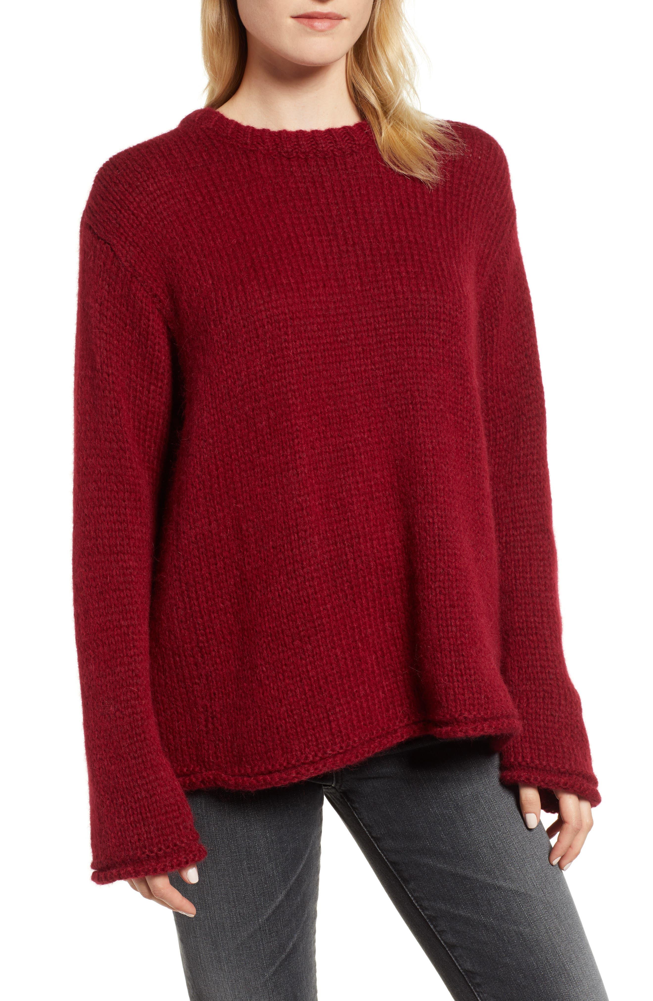 Wool Alpaca Blend Crewneck Sweater,                             Main thumbnail 1, color,                             WINE