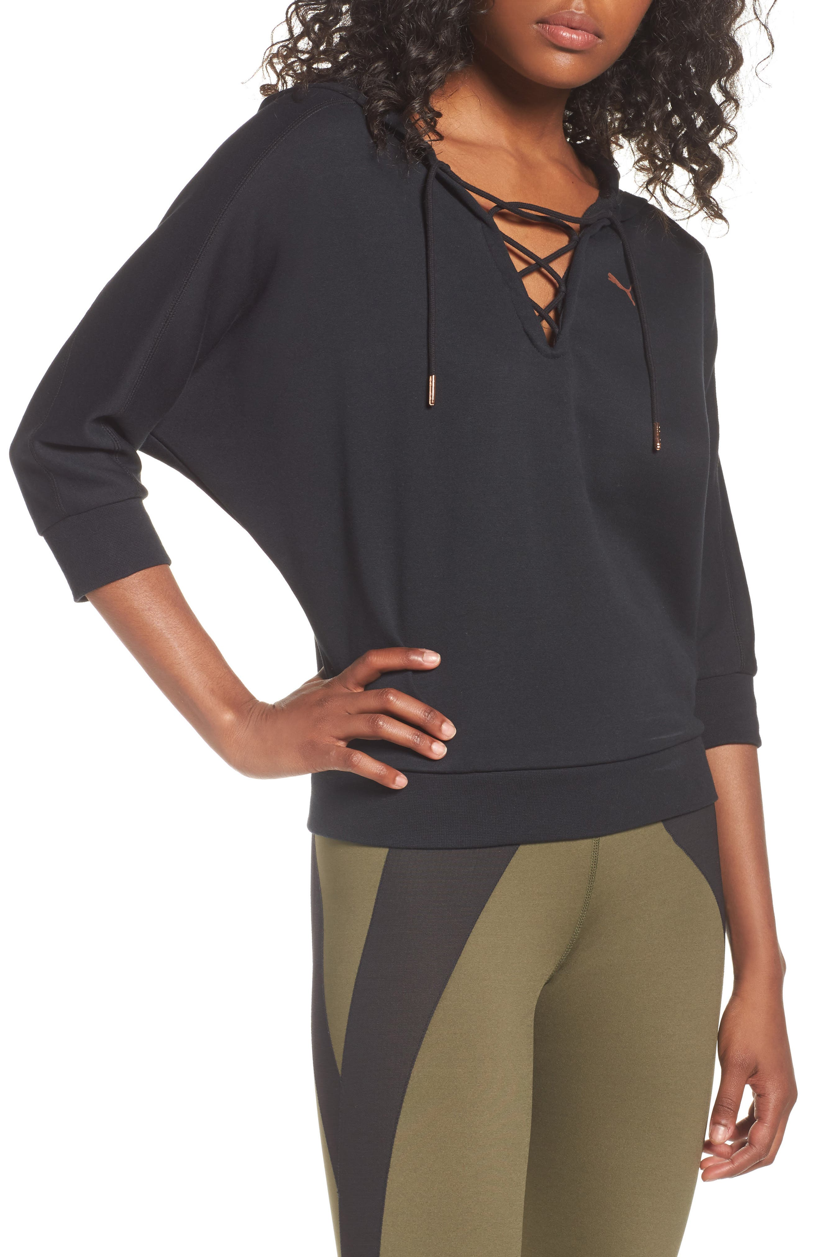 Yogini Lace-Up Hoodie,                         Main,                         color, 001
