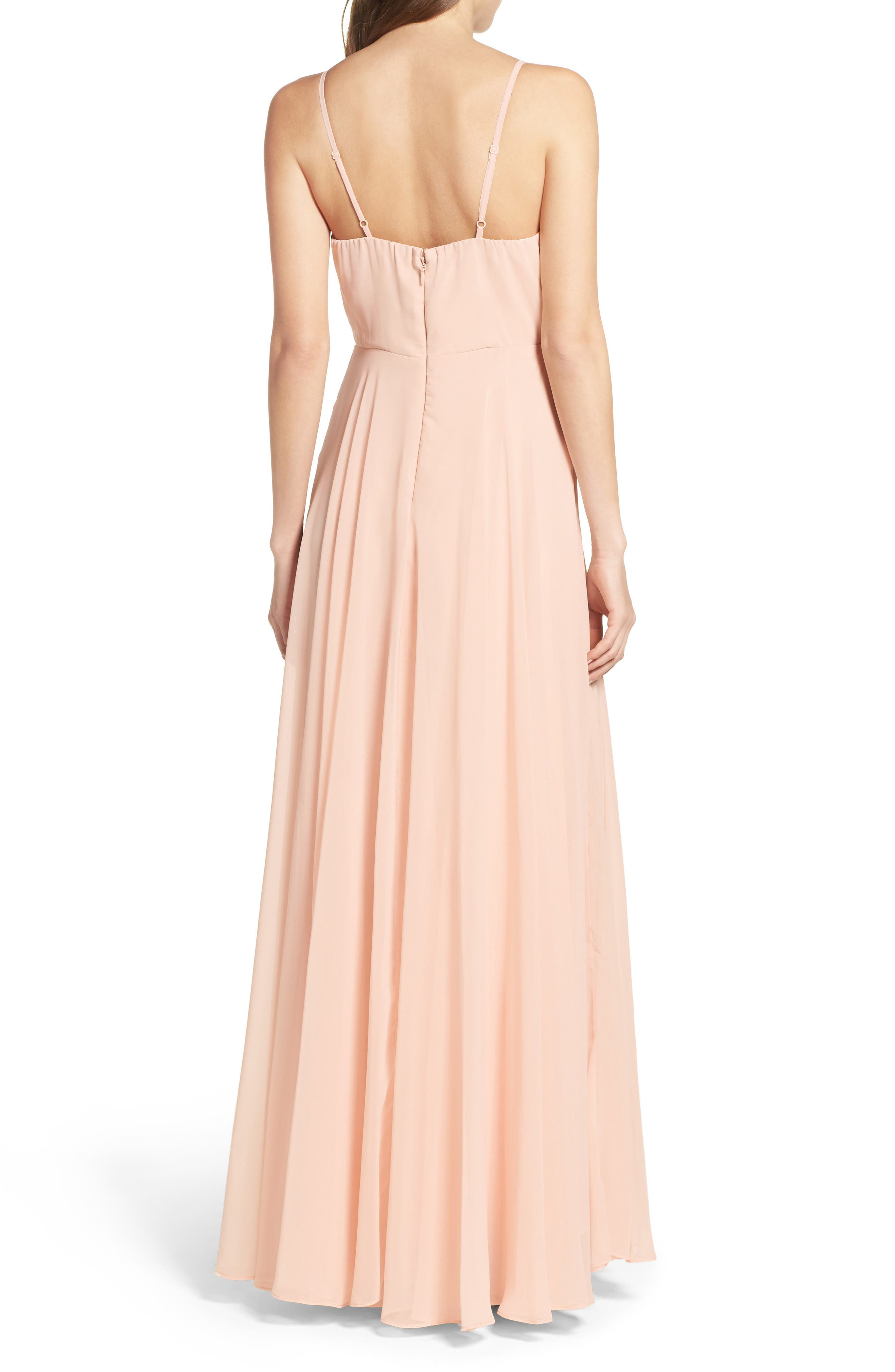 Surplice Chiffon Gown,                             Alternate thumbnail 2, color,                             BLUSH