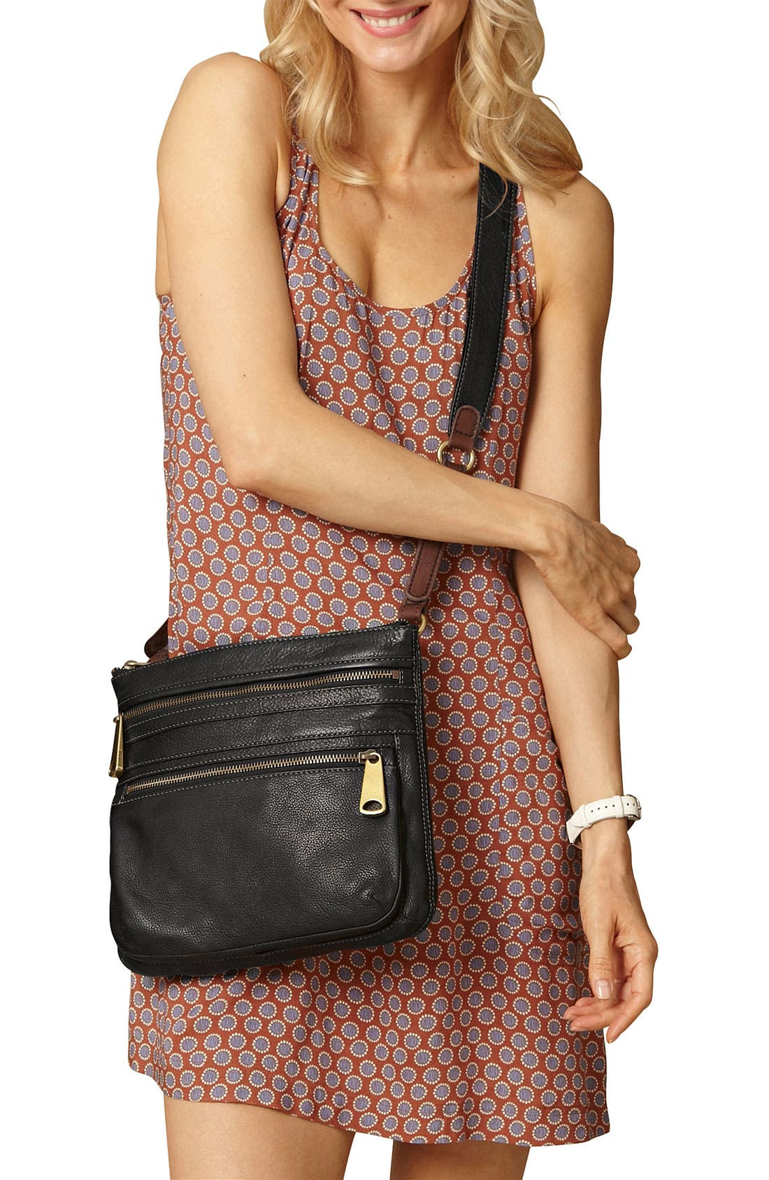 'Explorer' Crossbody Bag,                             Alternate thumbnail 3, color,                             001