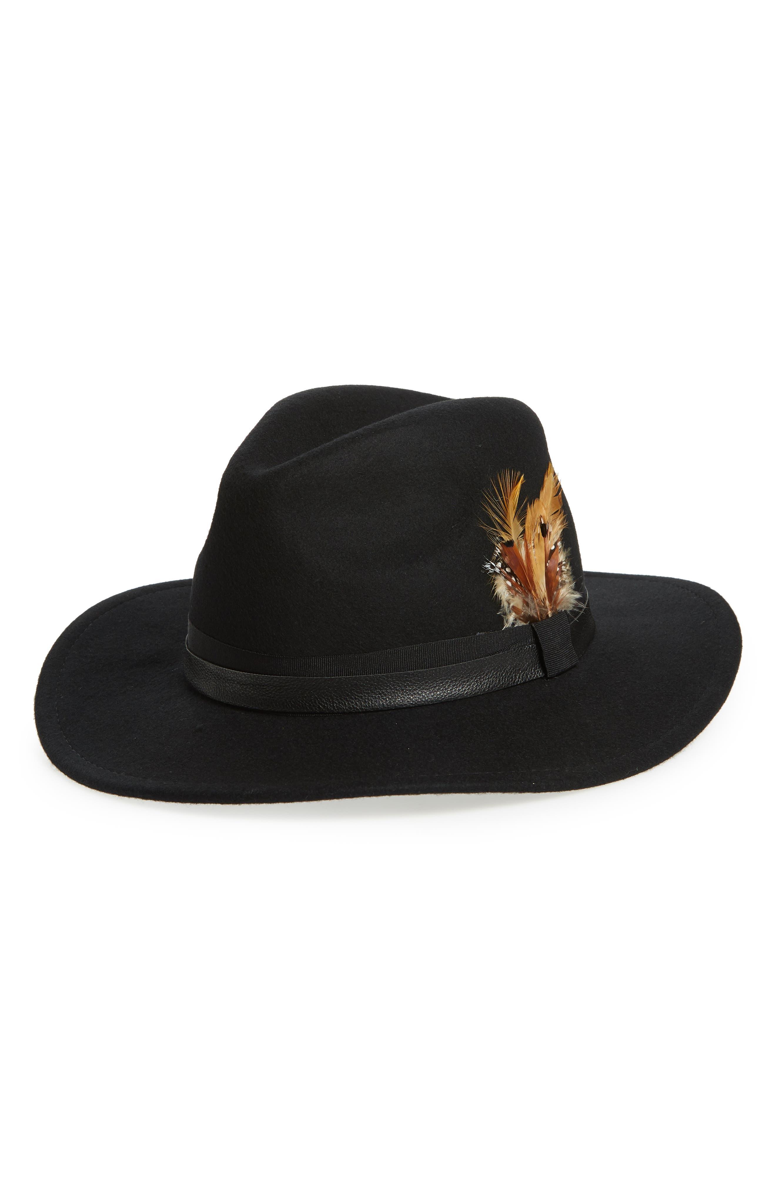 Feather Trim Panama Hat, Main, color, BLACK