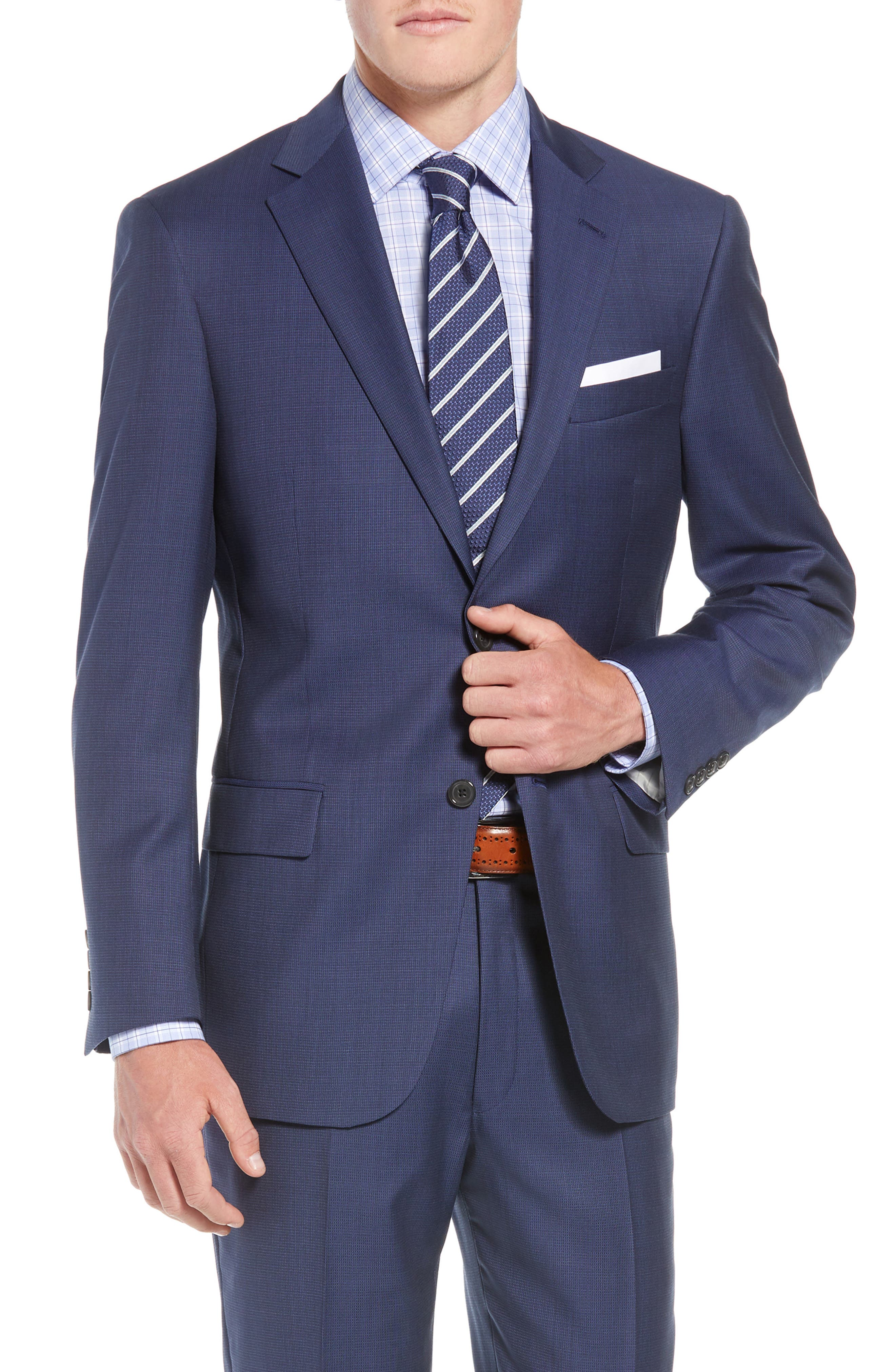 New York Classic Fit Check Wool Suit,                             Alternate thumbnail 5, color,                             MED BLUE
