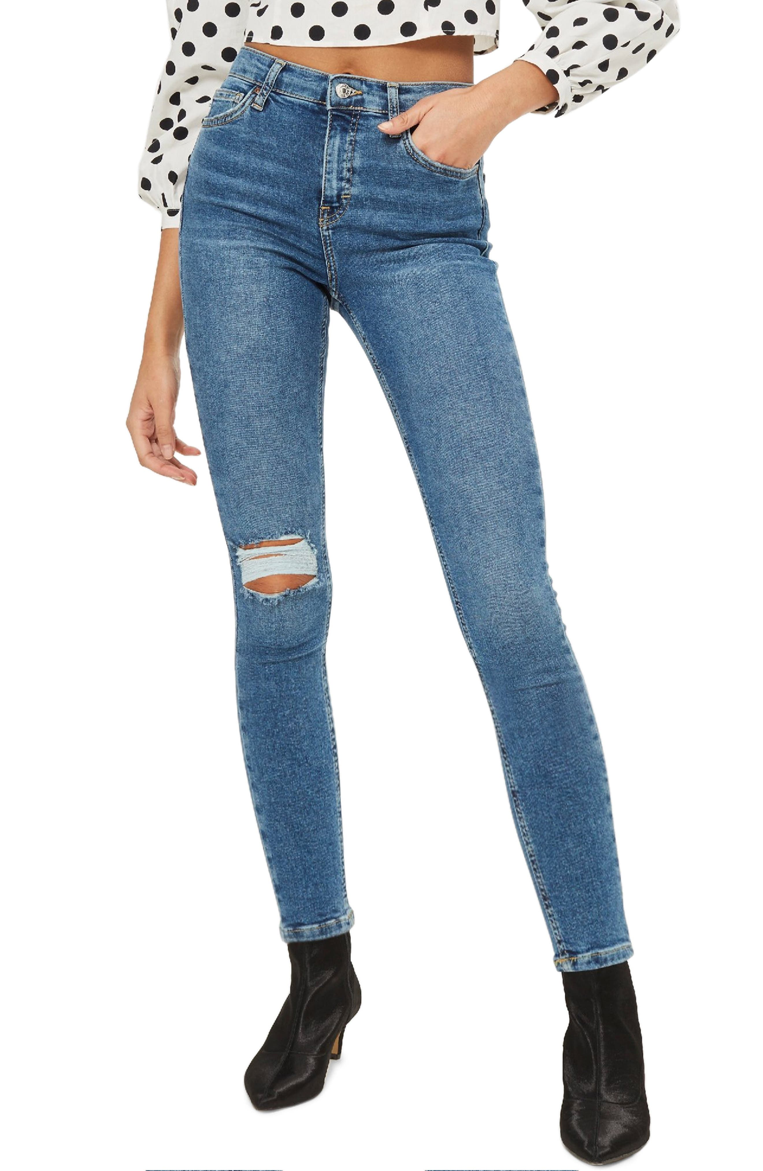 Women's Topshop Jamie Moto Rip Jeans