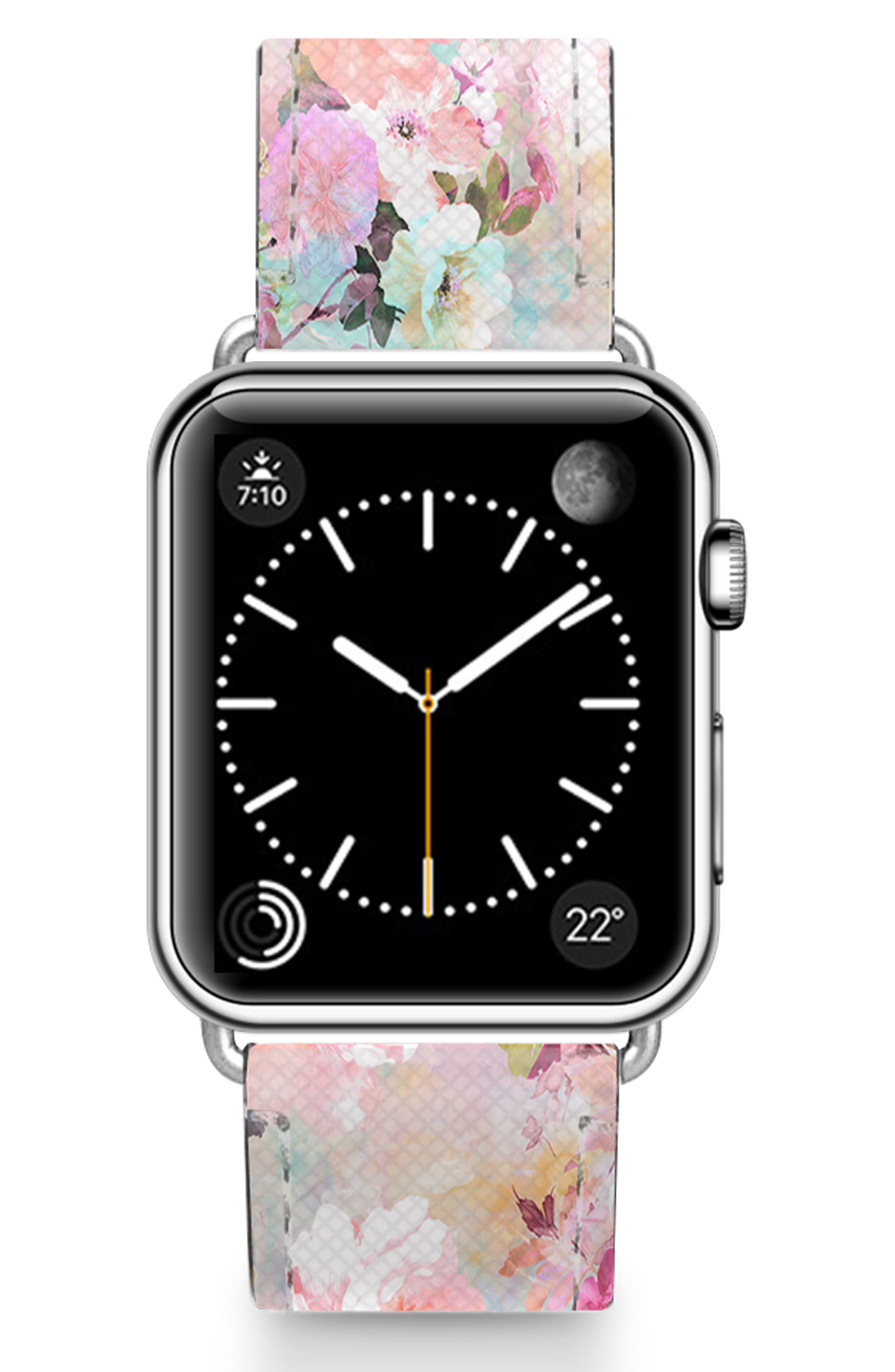 Romantic Watercolor Flowers Saffiano Faux Leather Apple Watch Strap,                             Main thumbnail 1, color,                             PINK/ SILVER