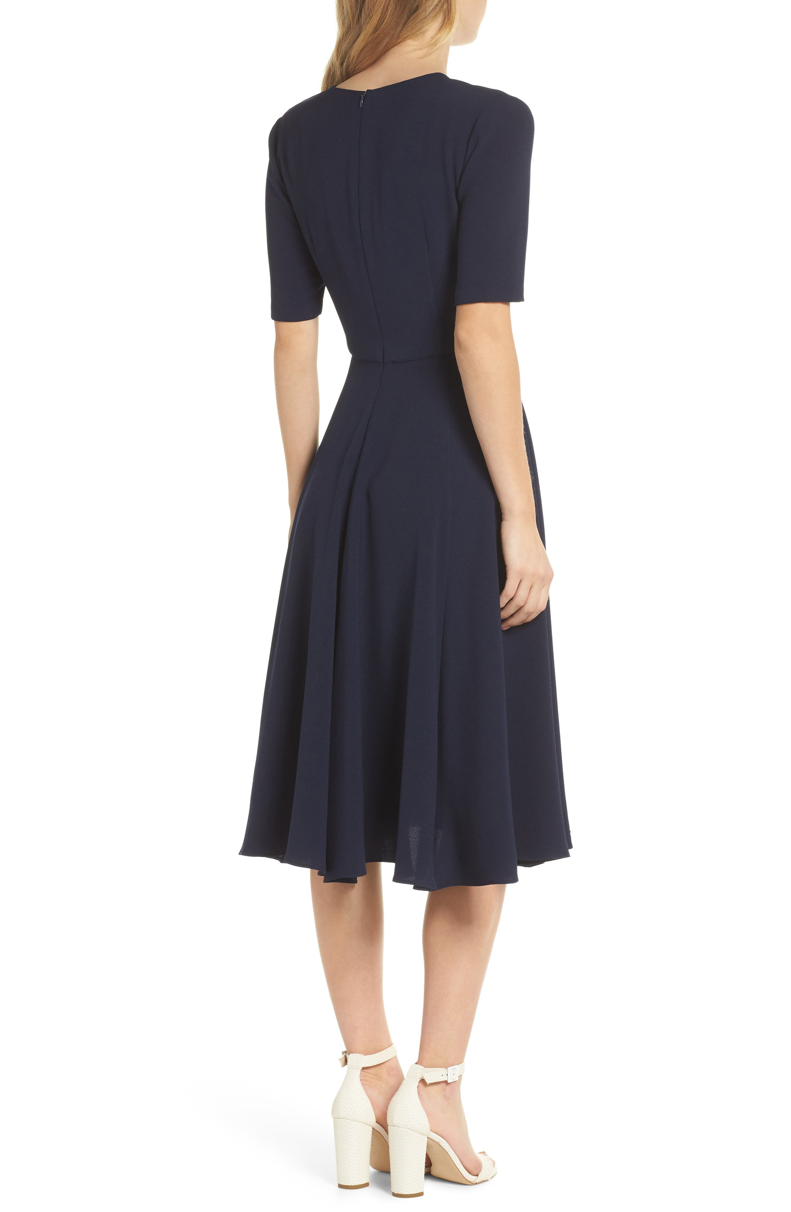 Edith City Crepe Fit & Flare Dress,                             Alternate thumbnail 2, color,                             NAVY