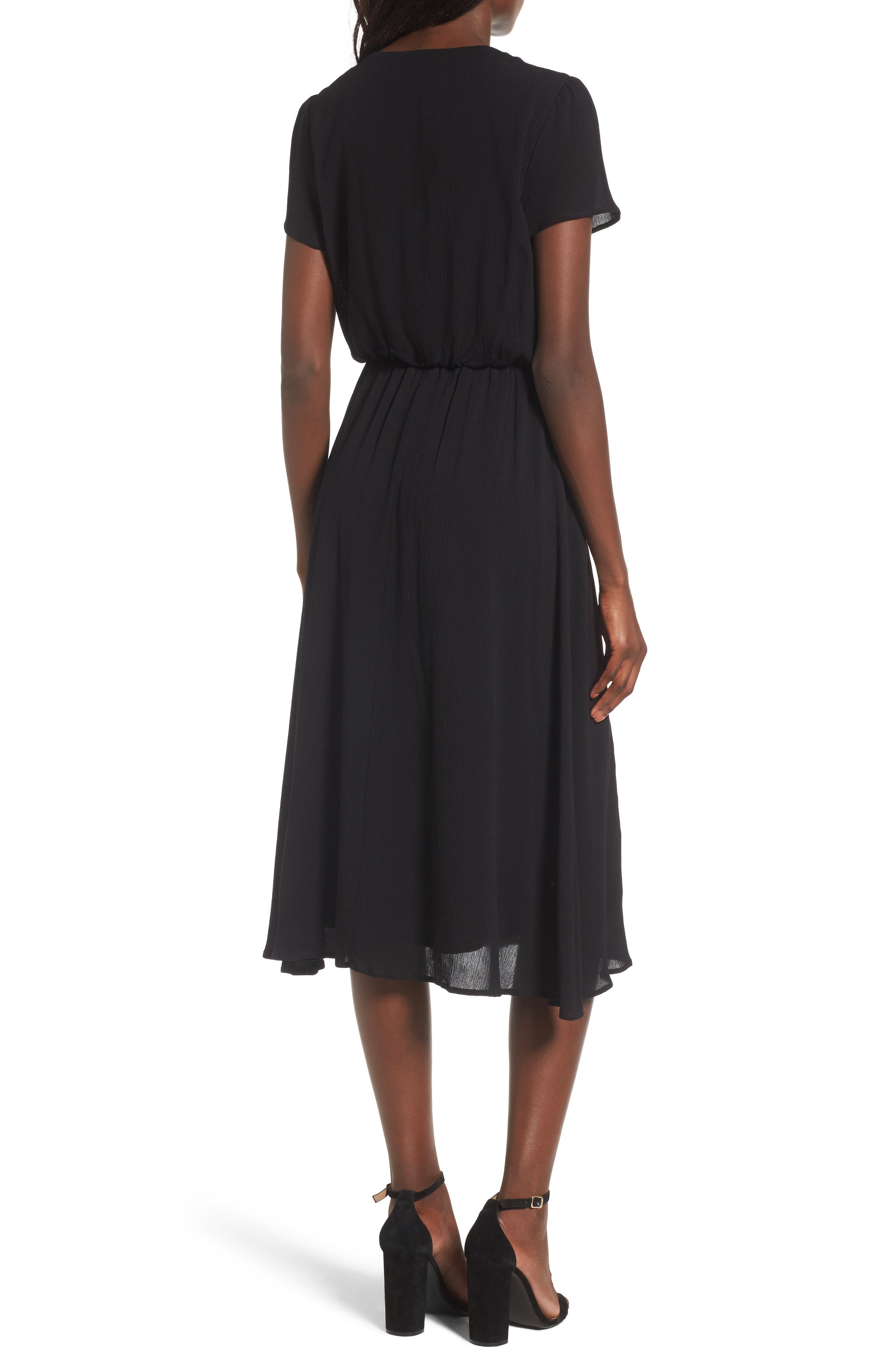 WAYF,                             Blouson Midi Dress,                             Alternate thumbnail 2, color,                             BLACK