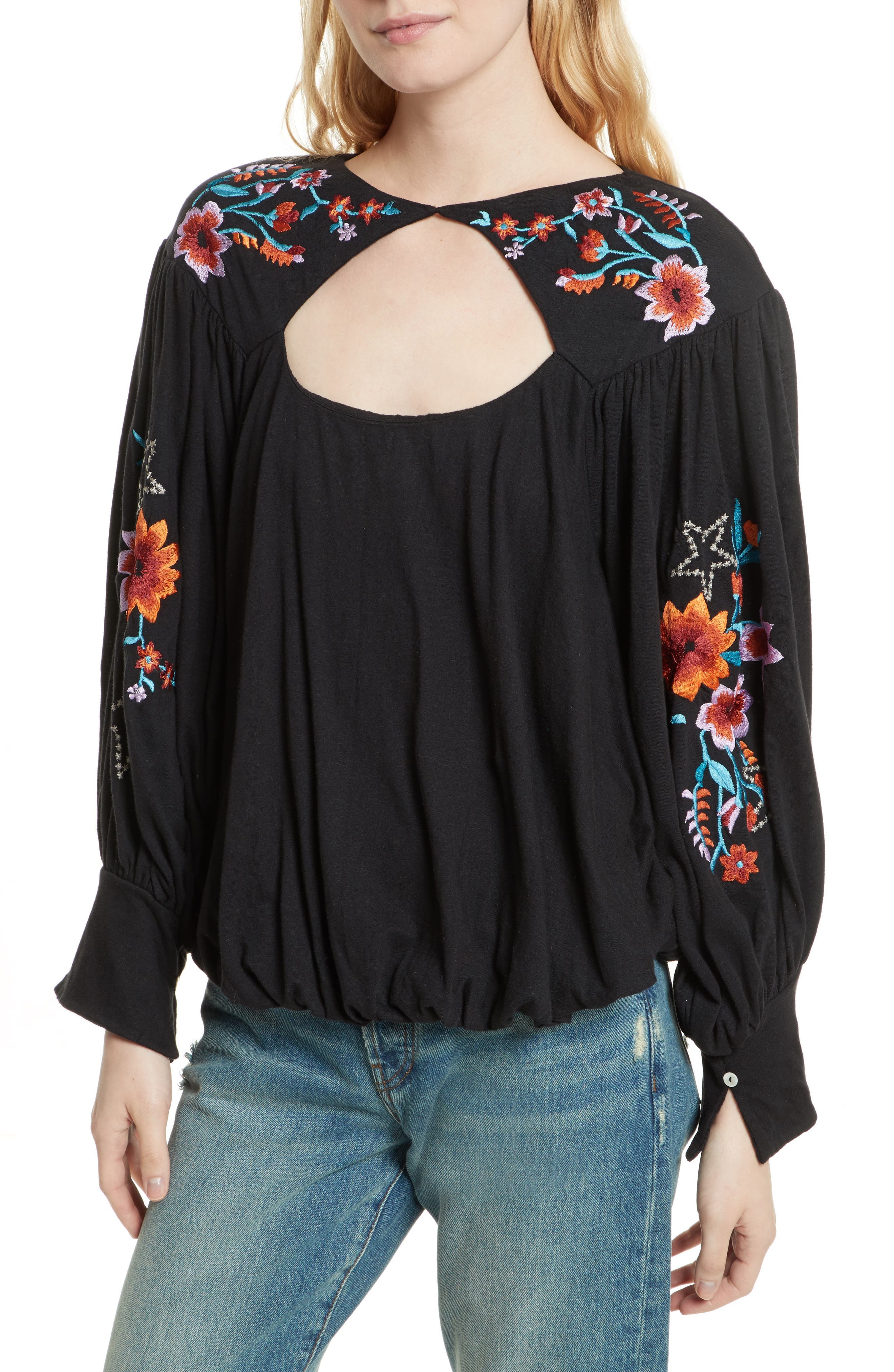 FREE PEOPLE,                             Lita Embroidered Bell Sleeve Top,                             Main thumbnail 1, color,                             001
