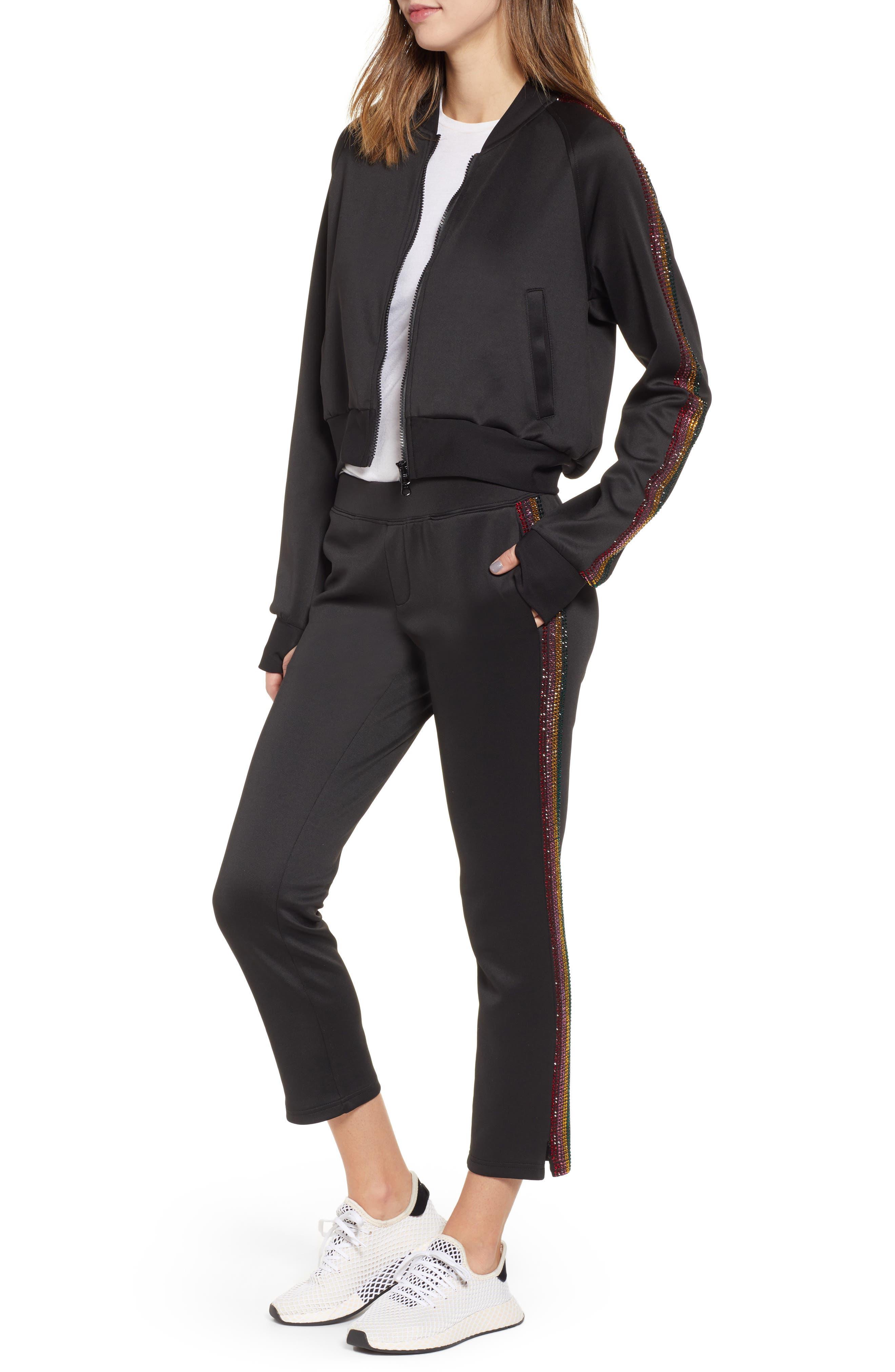 Sleeve Stripe Track Jacket,                             Alternate thumbnail 8, color,                             BLACK