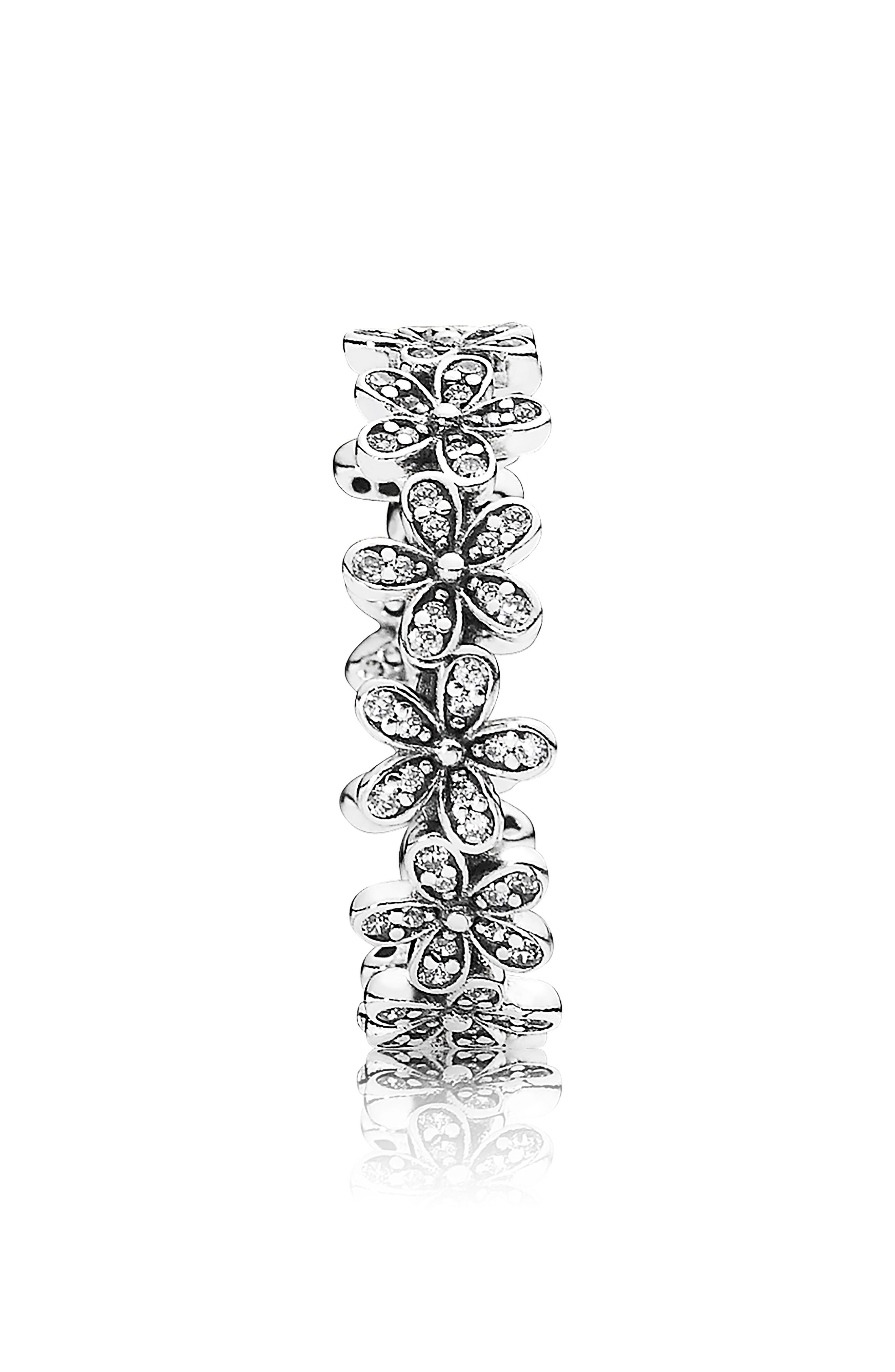 Dazzling Daisy Meadow Stacking Ring,                             Alternate thumbnail 2, color,                             SILVER