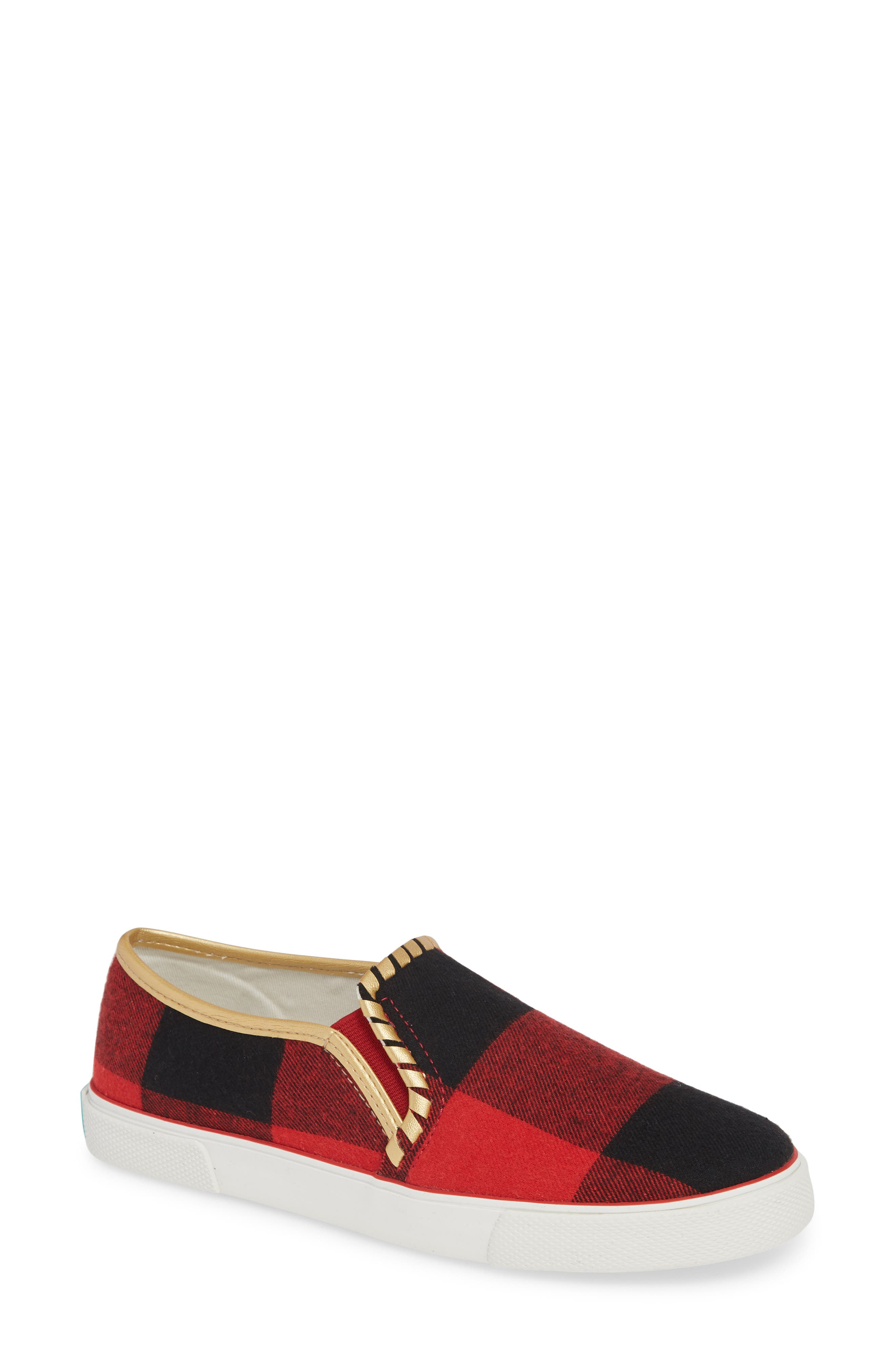 Brynne Slip-On Sneaker,                             Main thumbnail 1, color,                             RED/ BLACK FABRIC