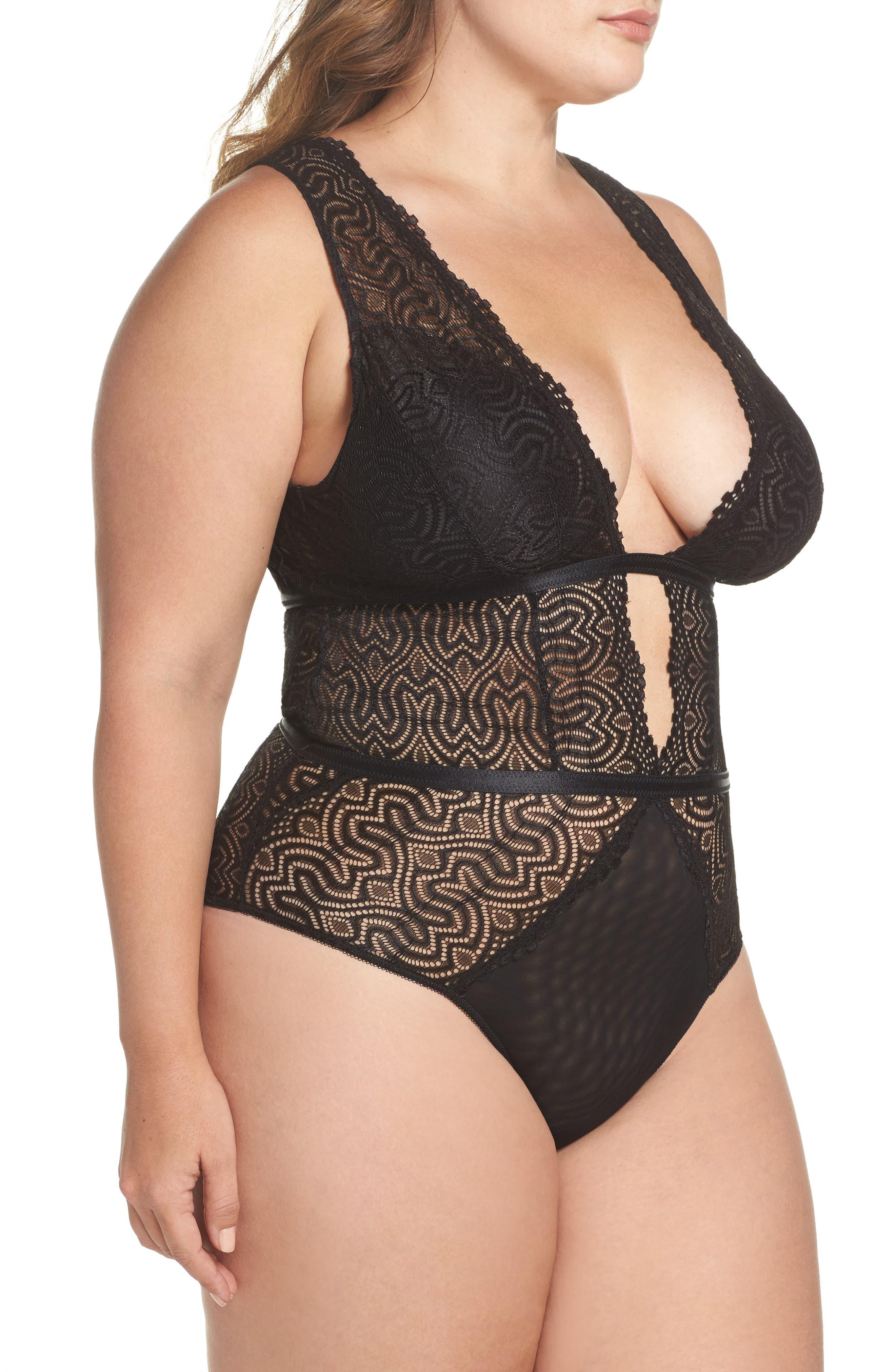 Lucette Edgy Lace Plunge Bodysuit,                             Alternate thumbnail 3, color,                             BLACK