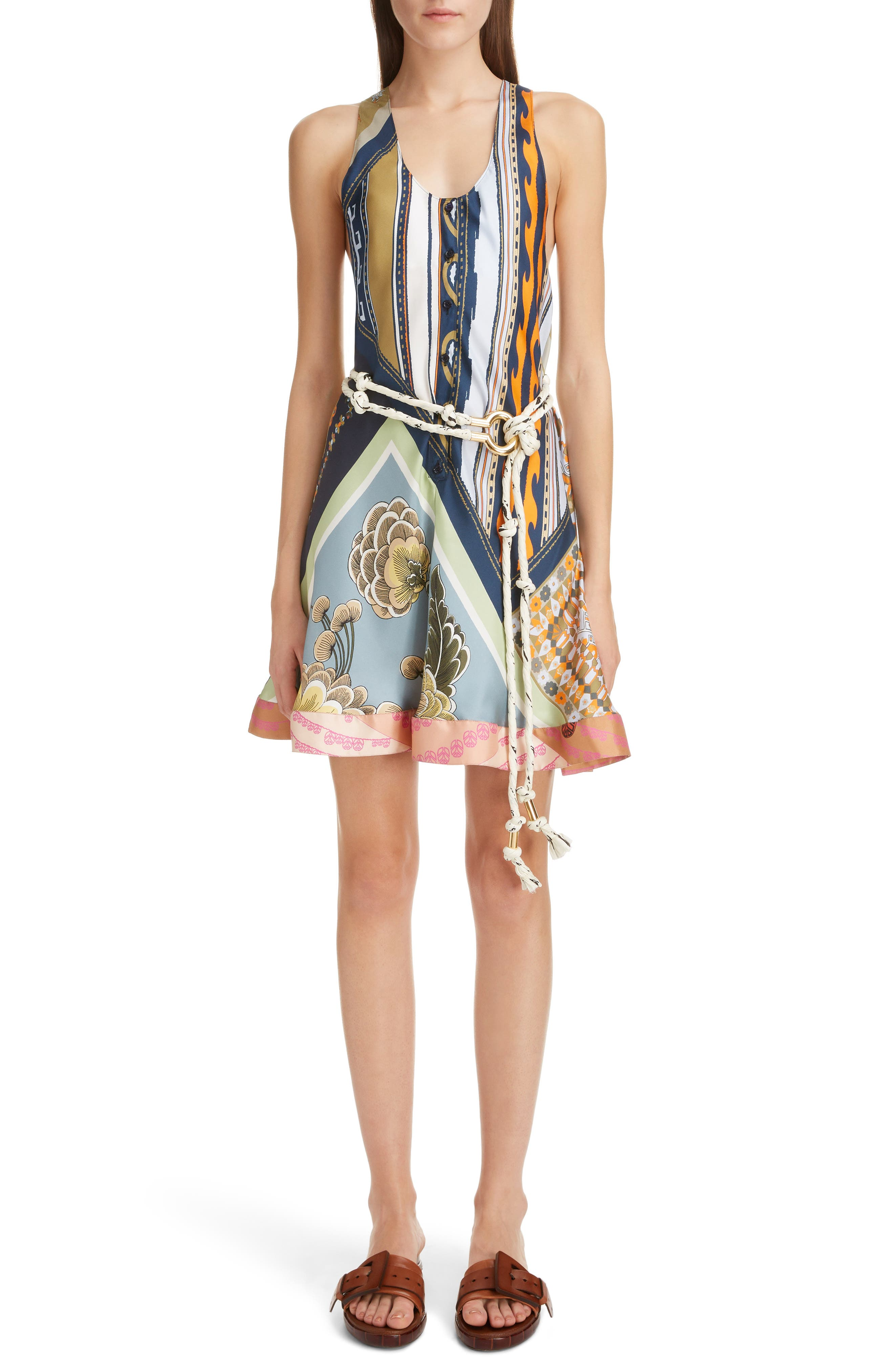 CHLOÉ Caravan Print Silk Racerback Dress, Main, color, MULTICOLOR BLUE