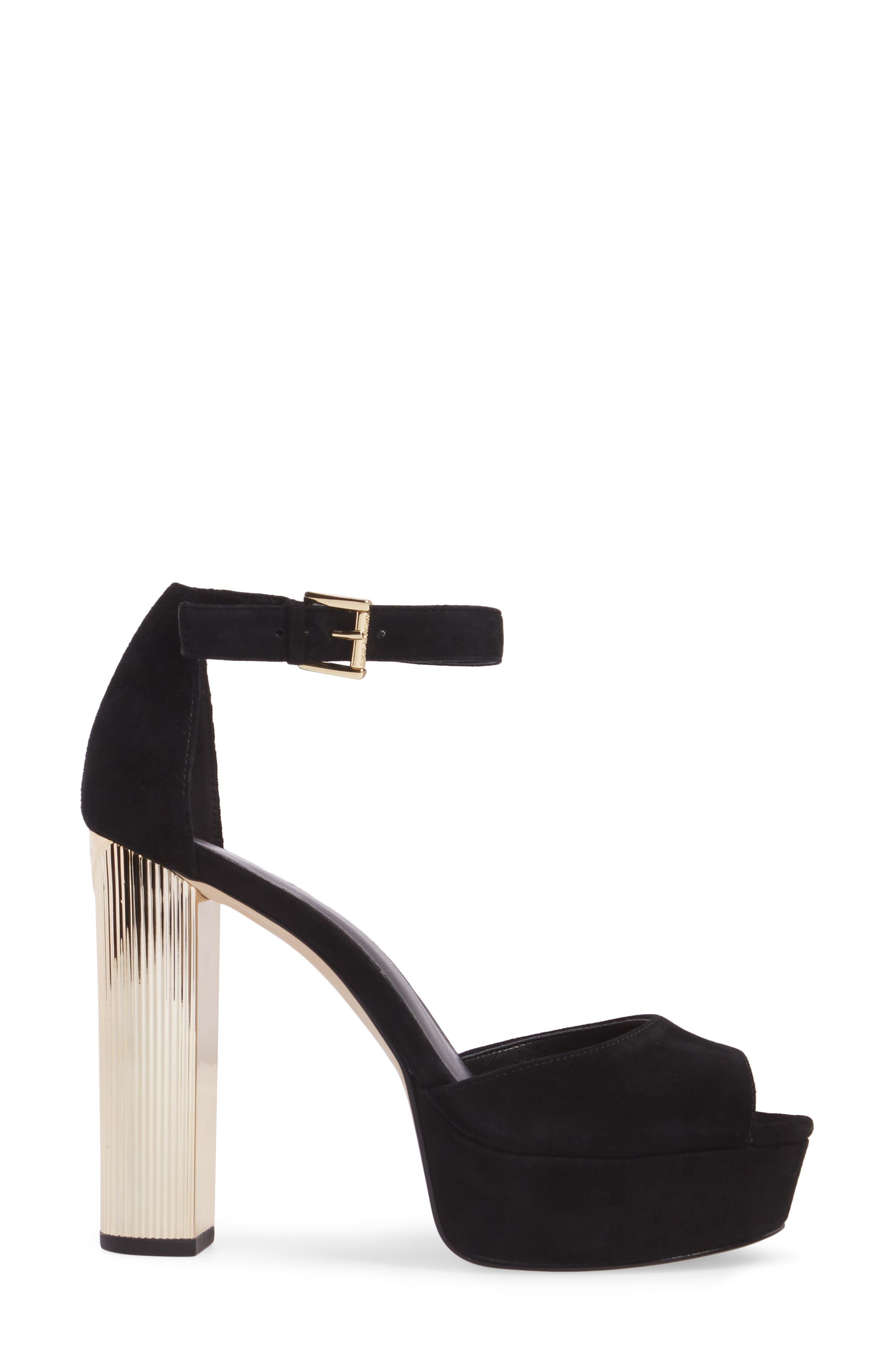 Paloma Metallic Heel Platform Sandal,                             Alternate thumbnail 3, color,                             BLACK LEATHER