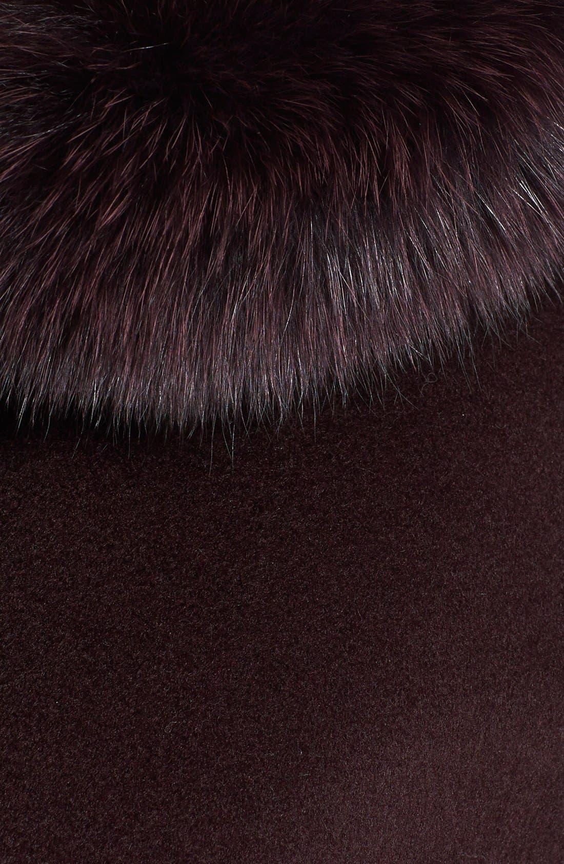 Genuine Fox Fur Trim Hooded Wool Blend Coat,                             Alternate thumbnail 12, color,