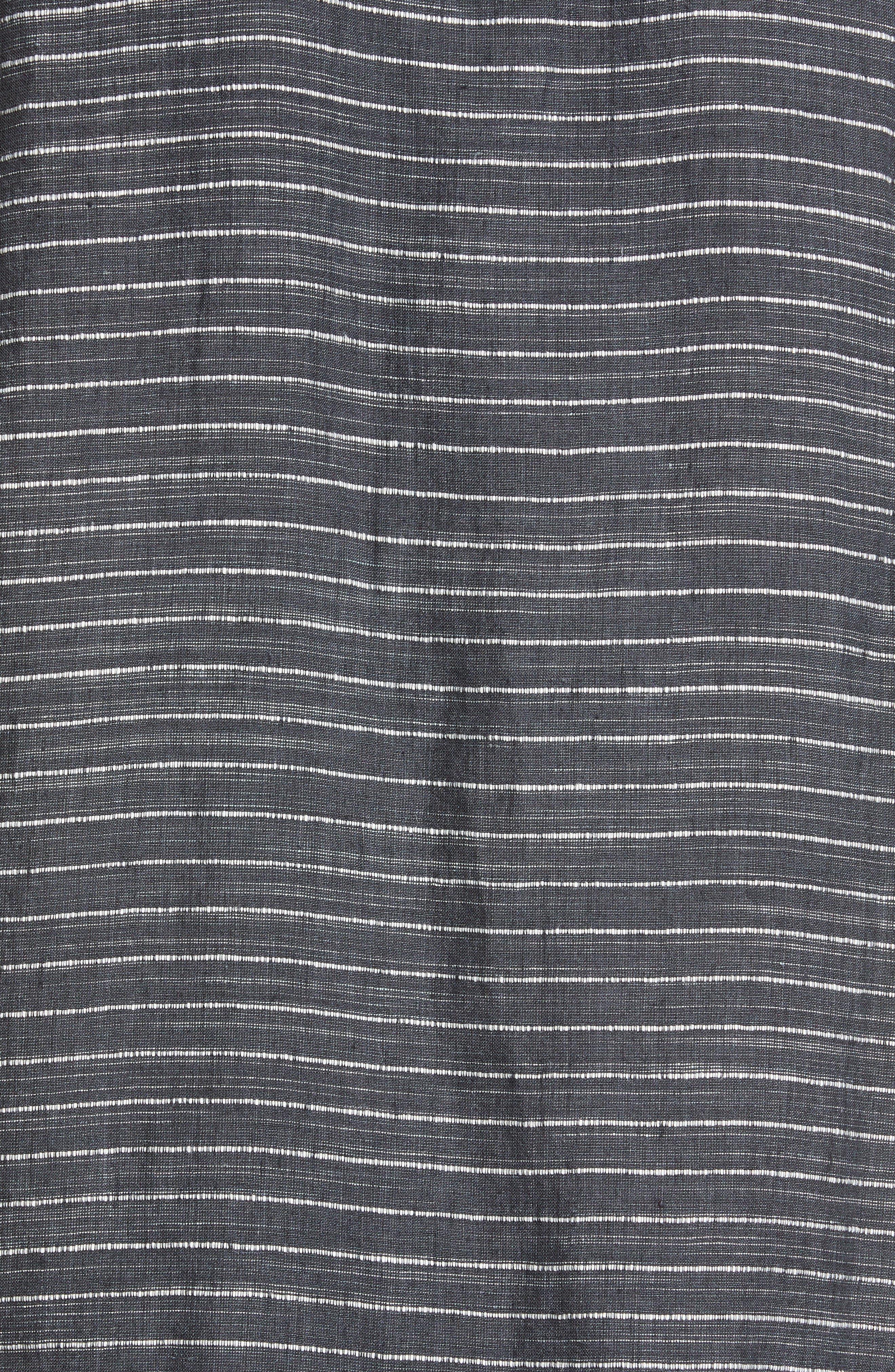 EILEEN FISHER,                             Stripe Linen Tunic Dress,                             Alternate thumbnail 5, color,                             GRAPHITE