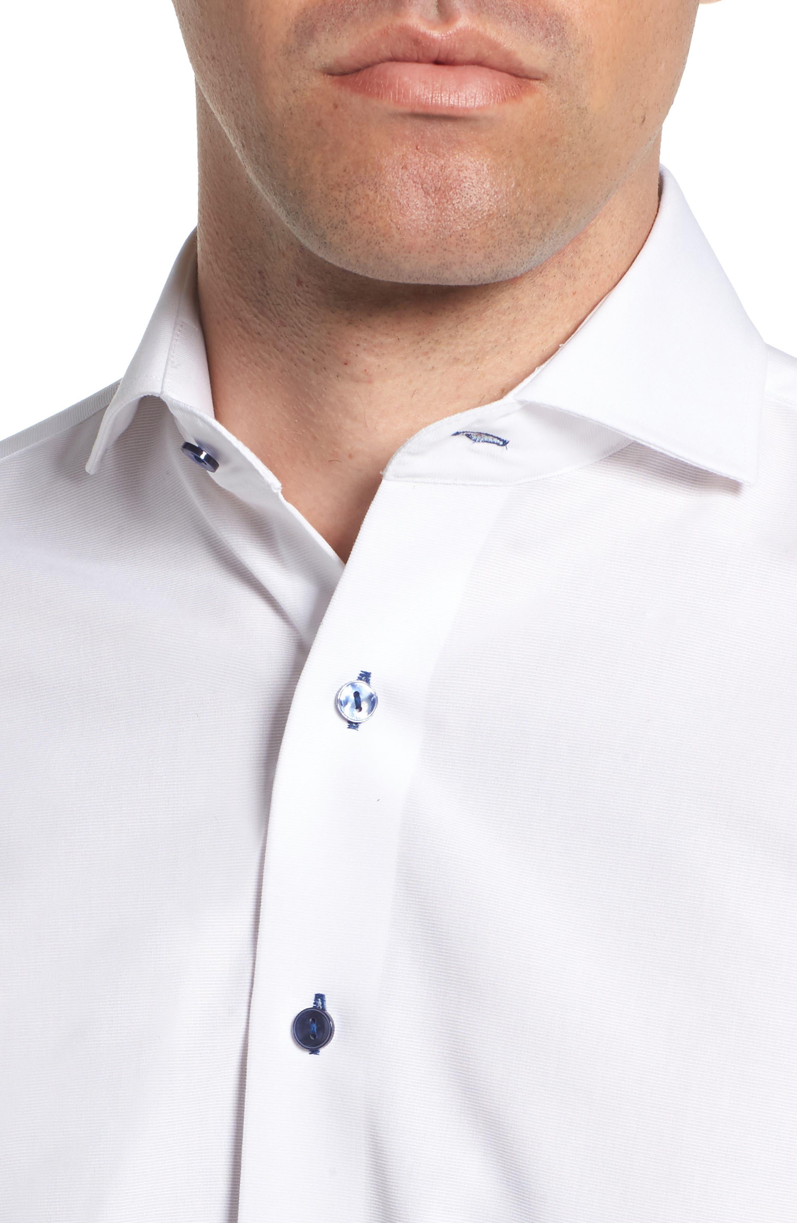 Trim Fit Solid Dress Shirt,                             Alternate thumbnail 2, color,                             100