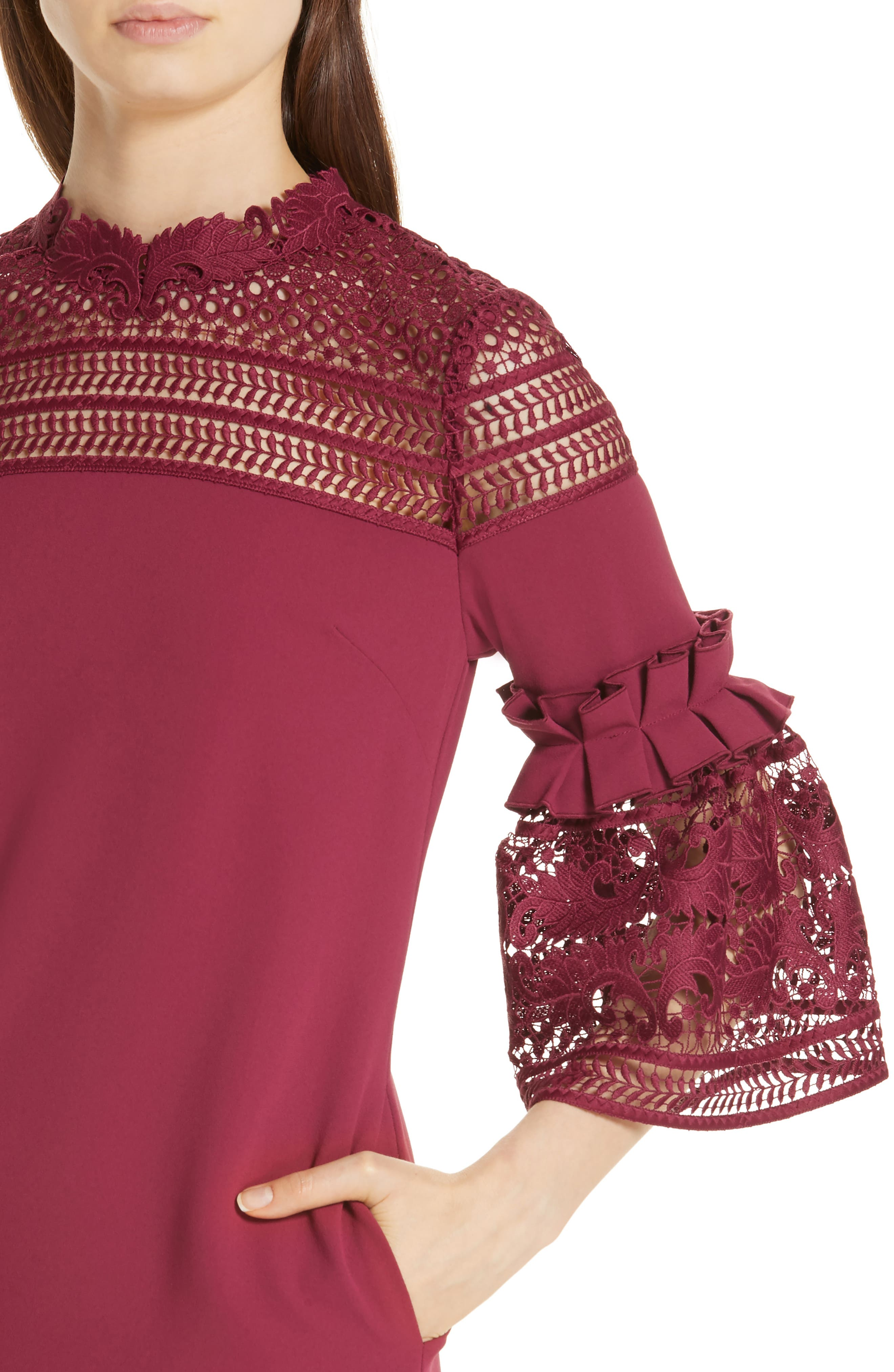 Lace Panel Bell Sleeve Tunic Dress,                             Alternate thumbnail 4, color,                             MAROON