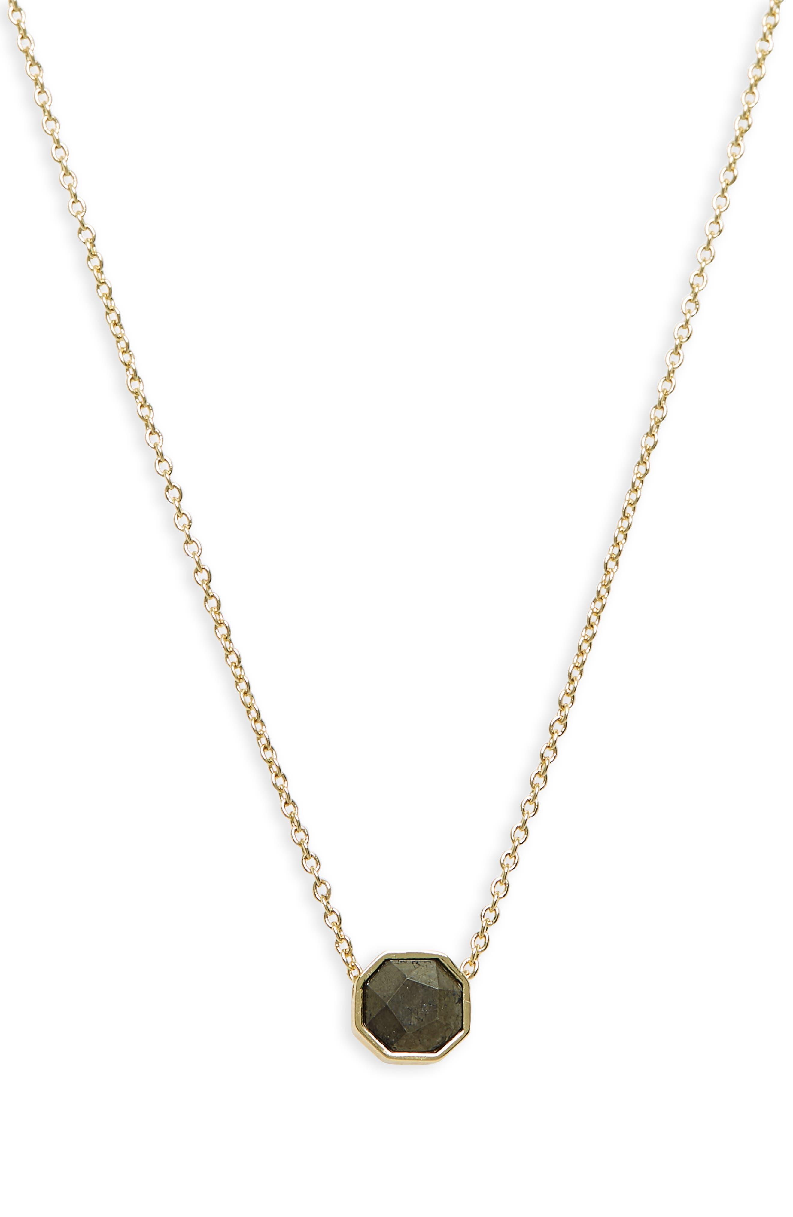 Power Gemstone Charm Adjustable Necklace,                             Alternate thumbnail 2, color,                             PYRITE/ GOLD