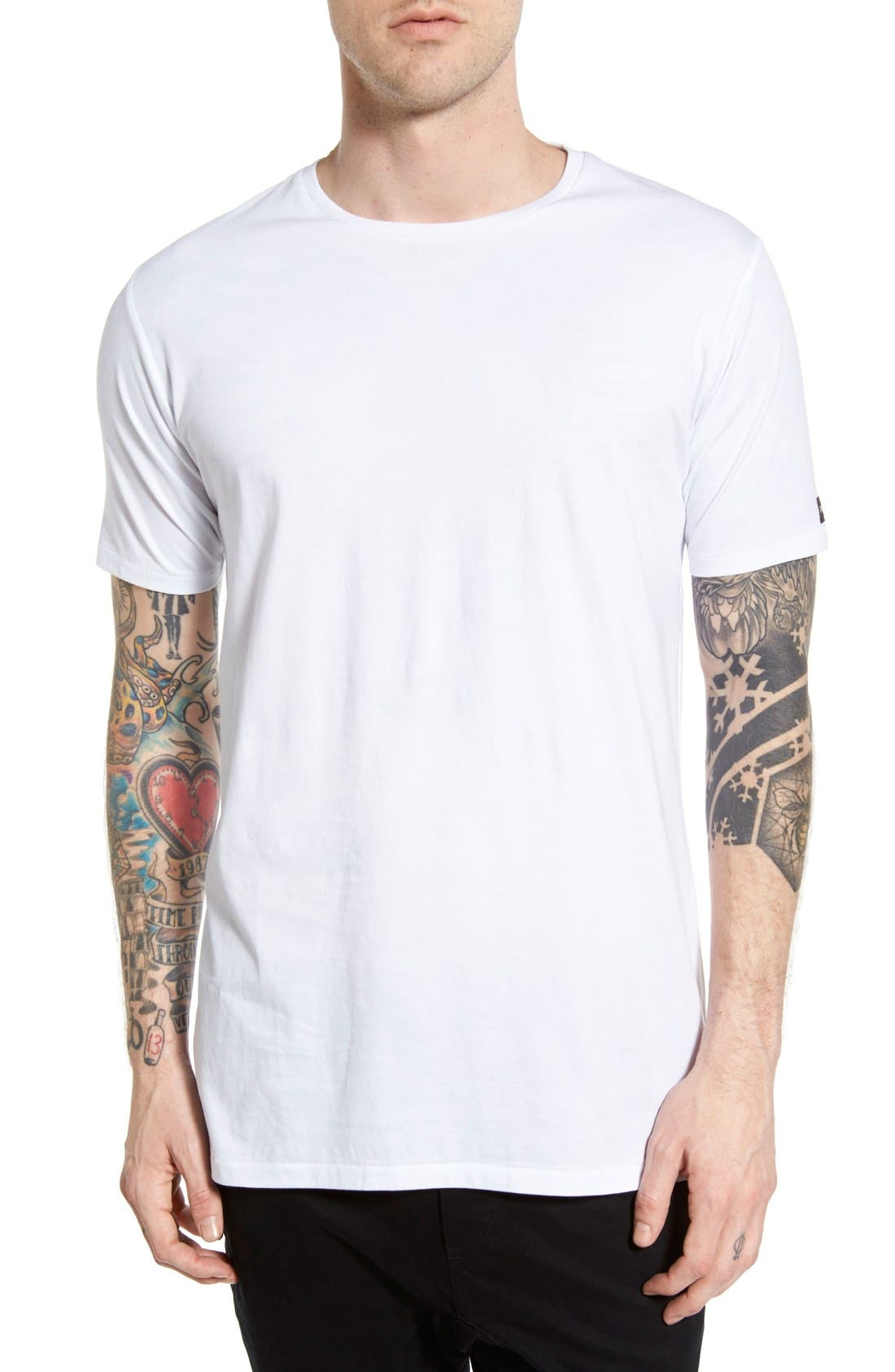 Flintlock Longline T-Shirt,                         Main,                         color, WHITE