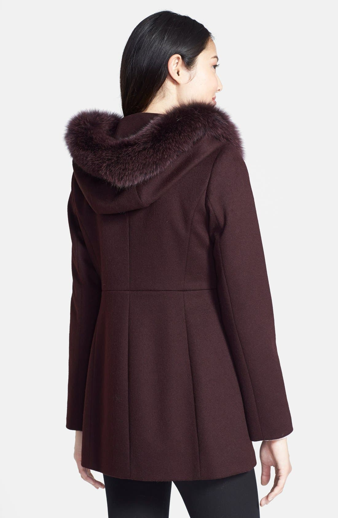 Genuine Fox Fur Trim Hooded Wool Blend Coat,                             Alternate thumbnail 8, color,