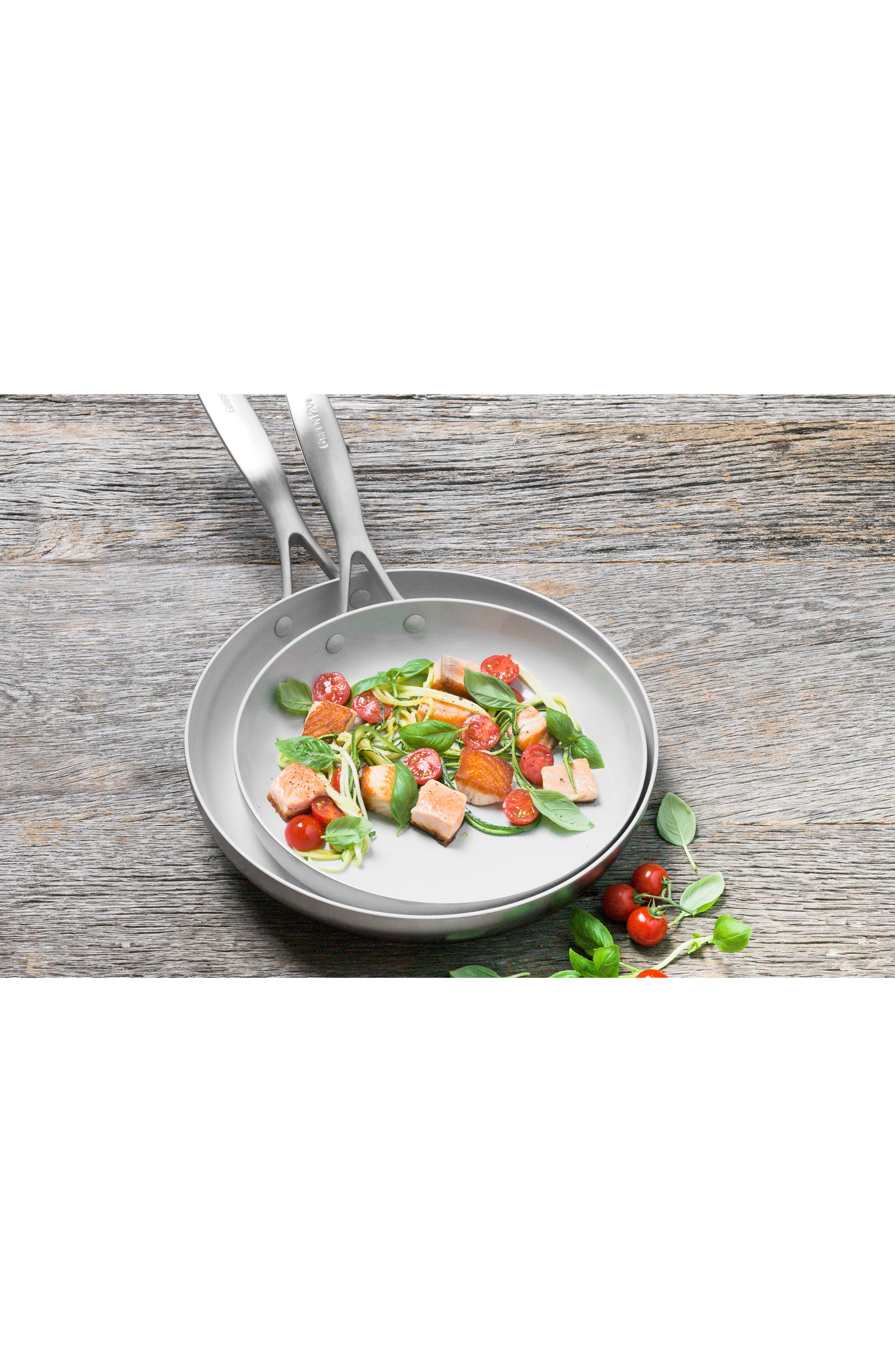 GREENPAN,                             Venice Pro 10-Inch & 12-Inch Multilayer Stainless Steel Ceramic Nonstick Frying Pan Set,                             Alternate thumbnail 6, color,                             STAINLESS STEEL