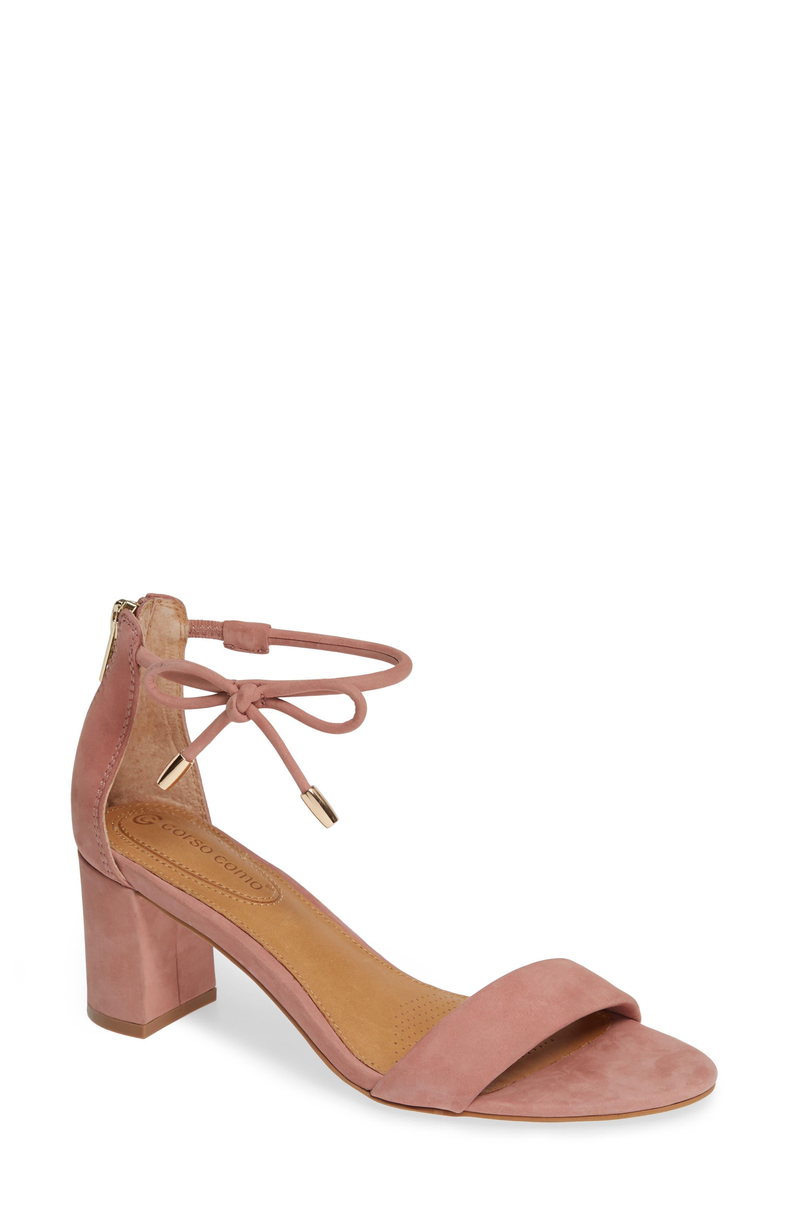 Celebratt Ankle Strap Sandal,                             Main thumbnail 1, color,                             OLD ROSE NUBUCK LEATHER