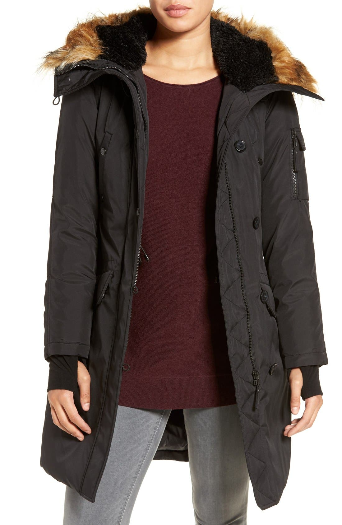 S13 'Alaska' Parka with Faux Fur Trim Hood,                         Main,                         color,