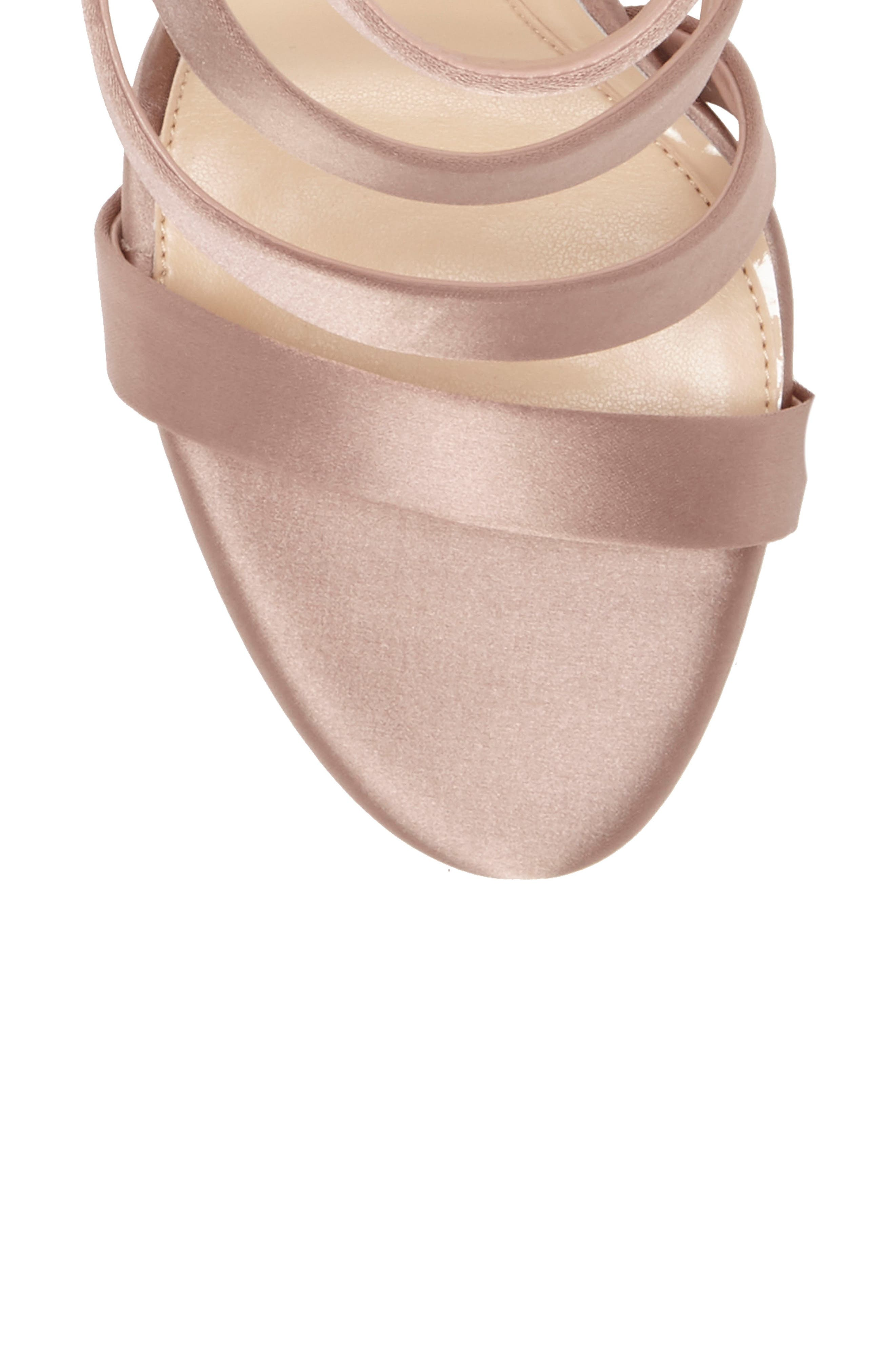 Imagine Vince Camuto Dalles Tall Strappy Sandal,                             Alternate thumbnail 7, color,                             WARM TAUPE SATIN