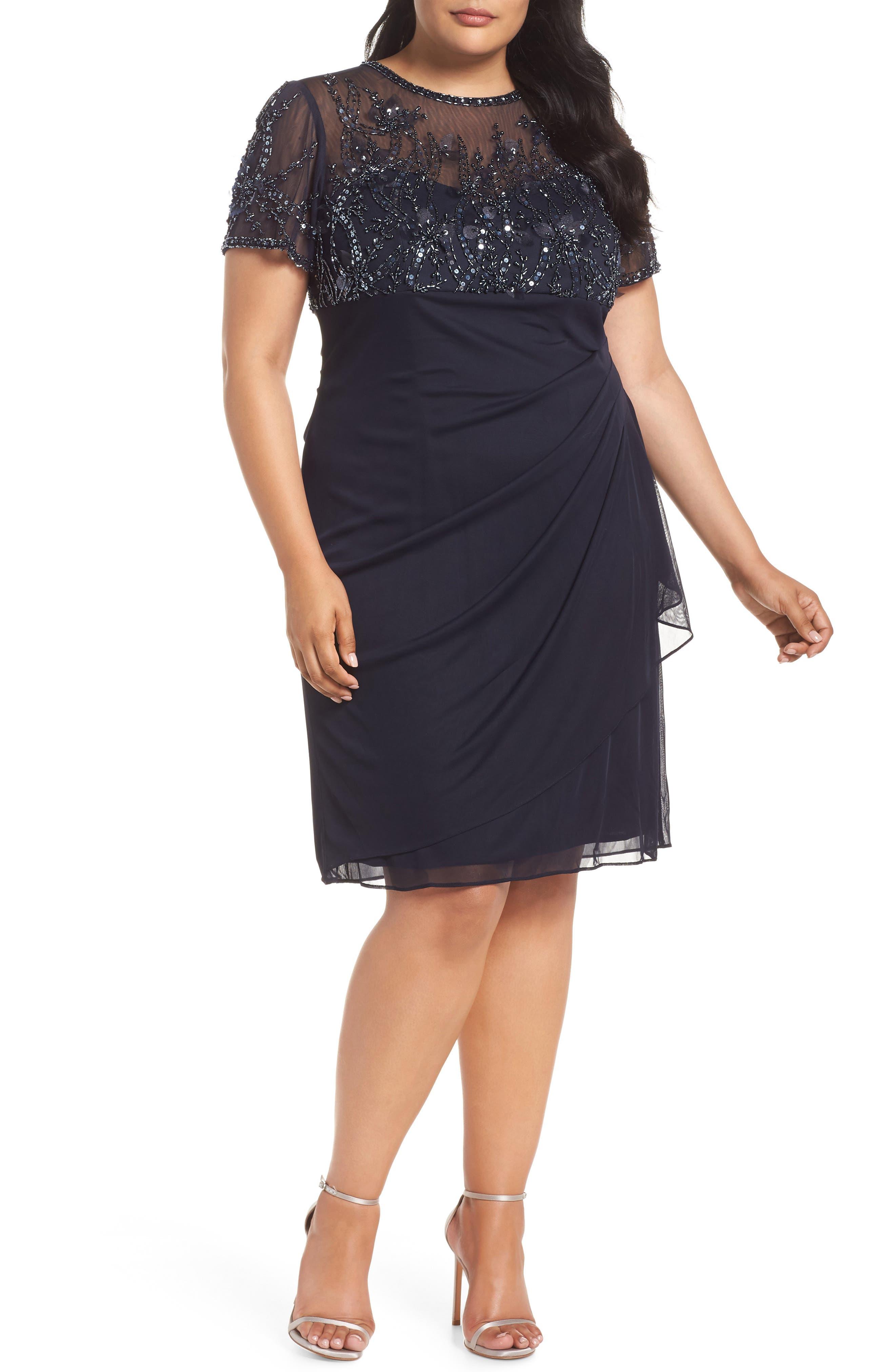 Plus Size Xscape Beaded Bodice Ruched Sheath Dress, Blue