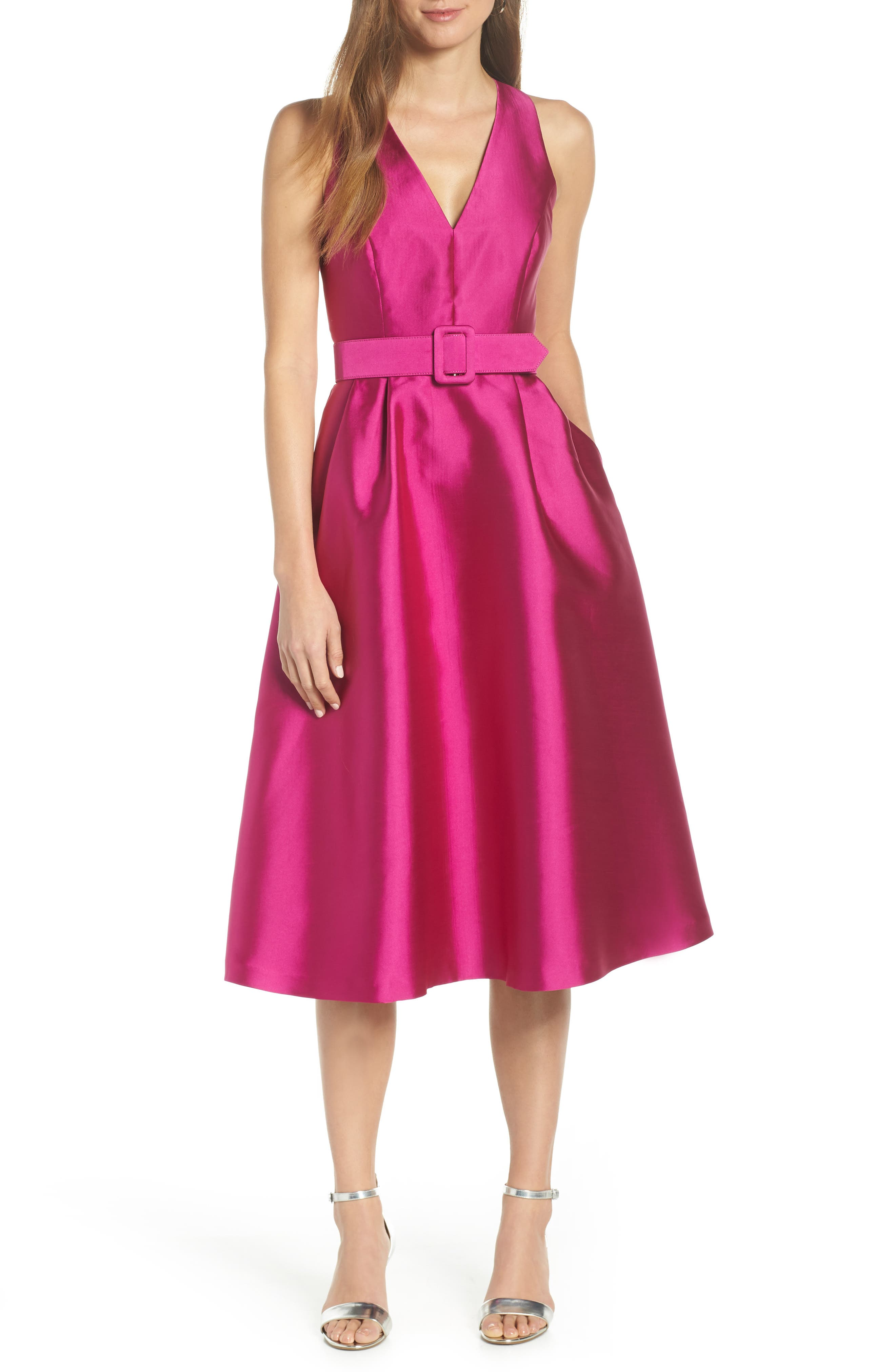 1901,                             Belted Fit & Flare Dress,                             Main thumbnail 1, color,                             PINK