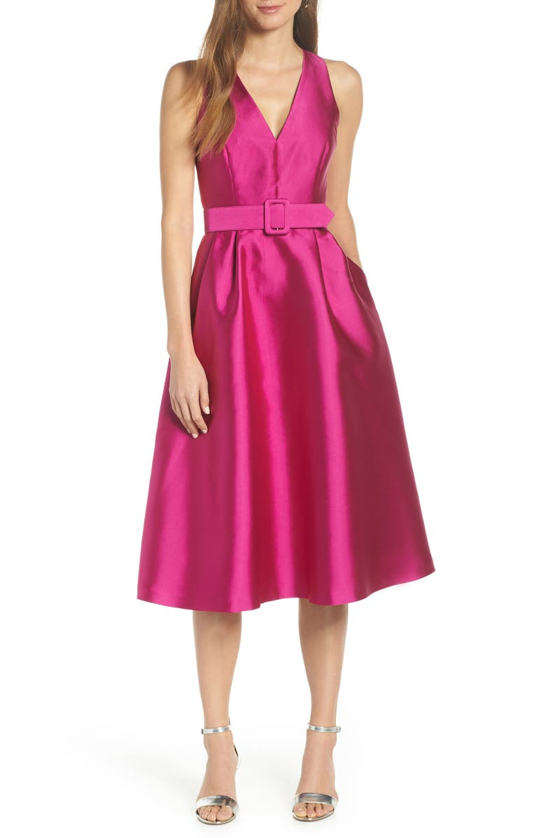 Belted Fit & Flare Dress, Main, color, PINK