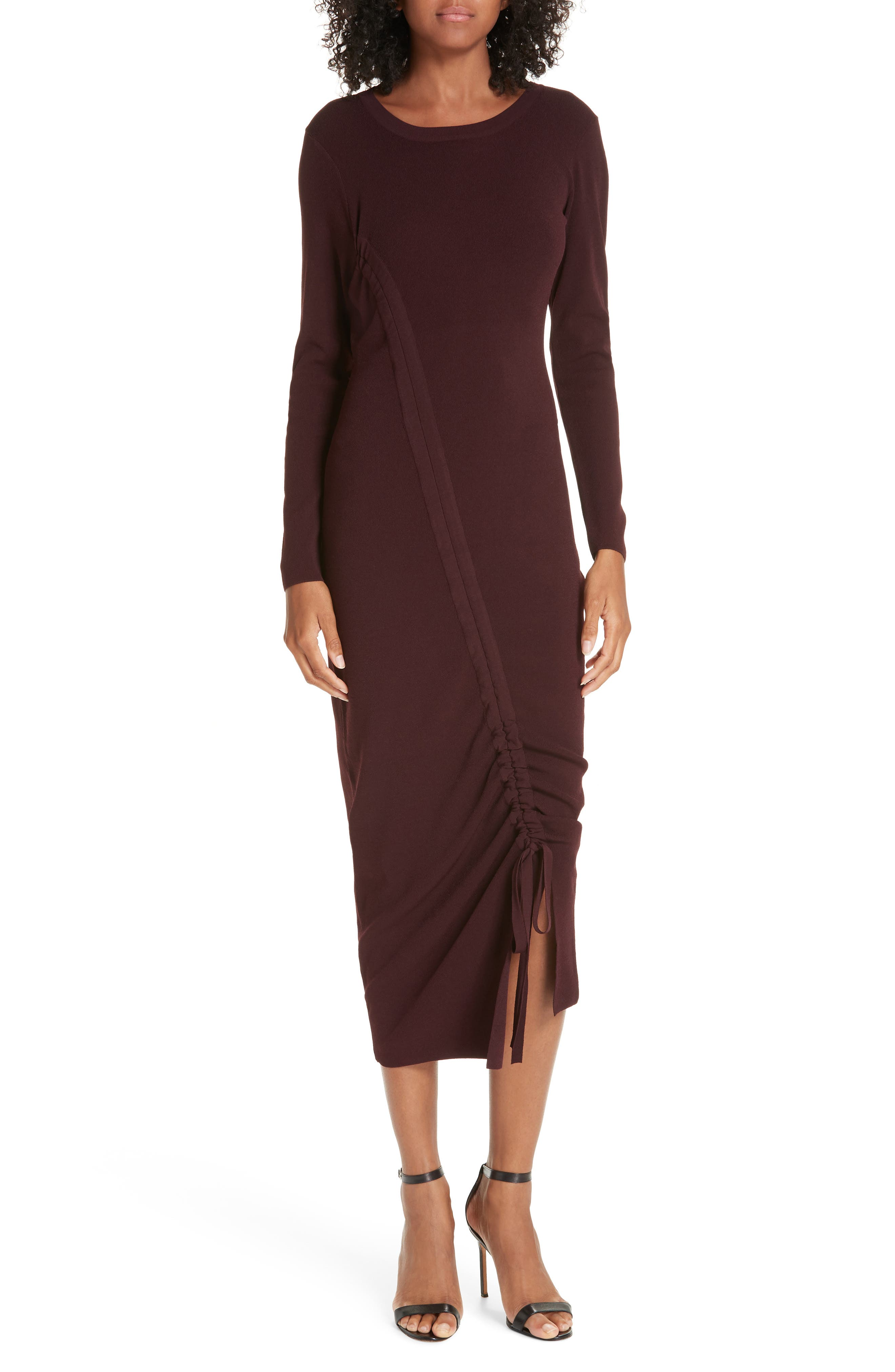 Milly Diagonal Ruched Tunnel Dress, Size Petite - Burgundy