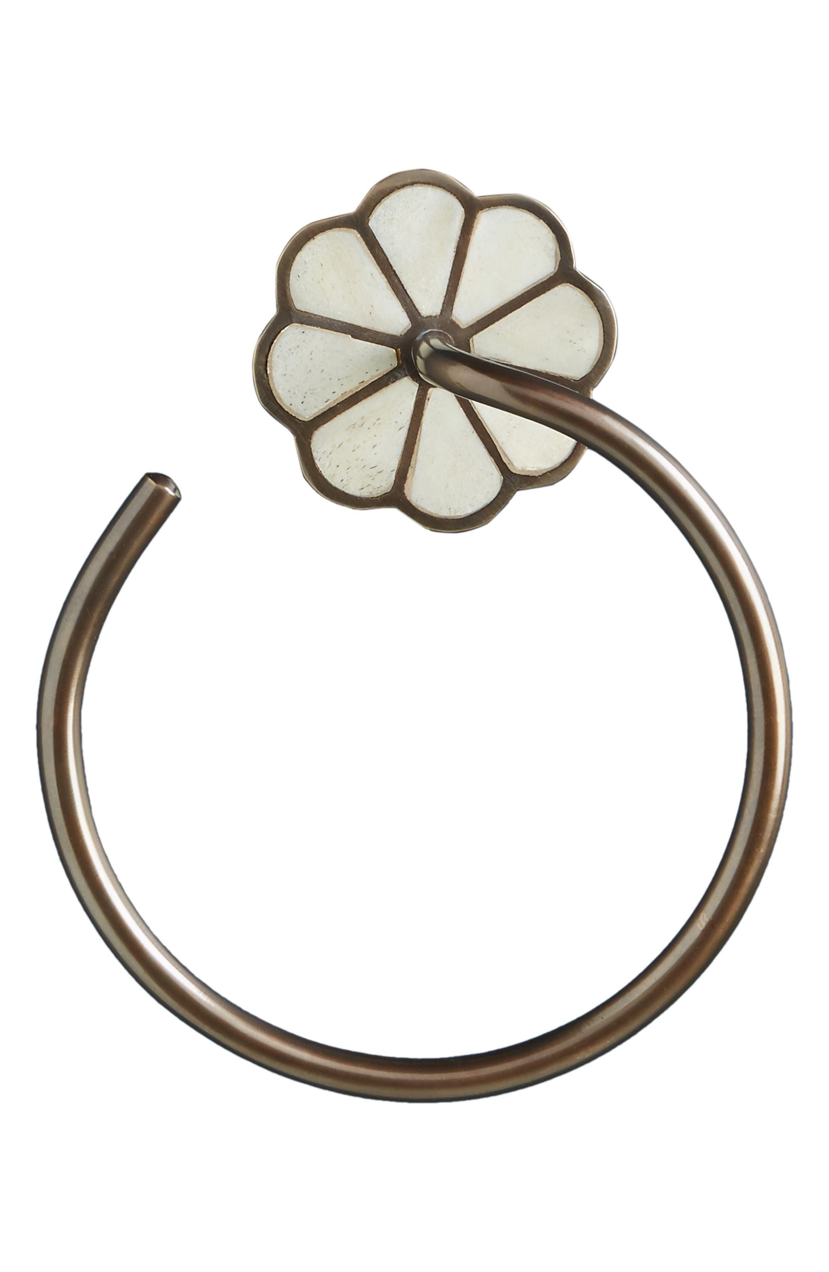 ANTHROPOLOGIE,                             Botanist Towel Ring,                             Alternate thumbnail 4, color,                             WHITE/ OIL RUBBED BRONZE
