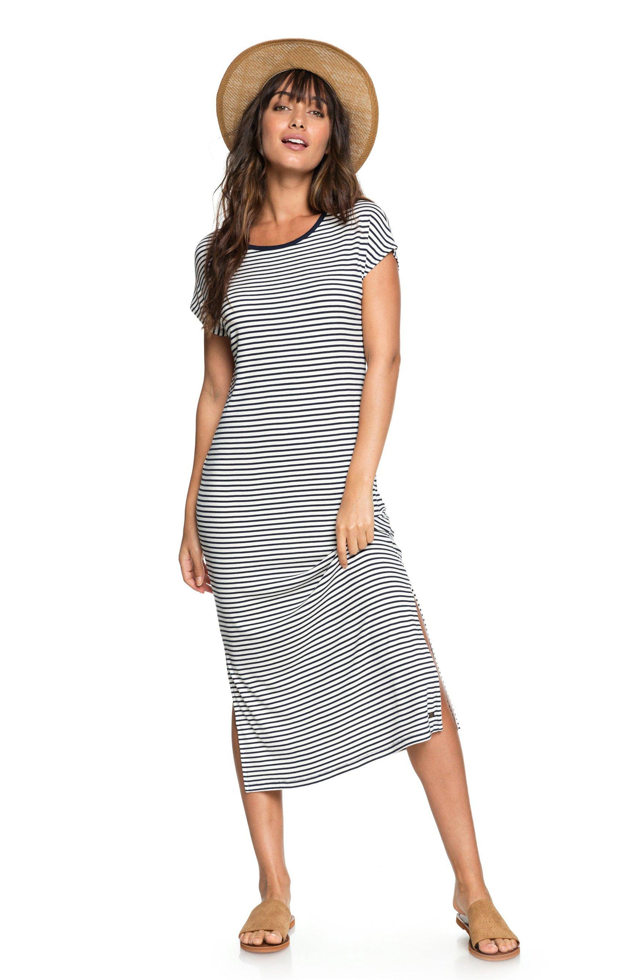 Make It New Stripe Midi Dress,                             Alternate thumbnail 6, color,                             100
