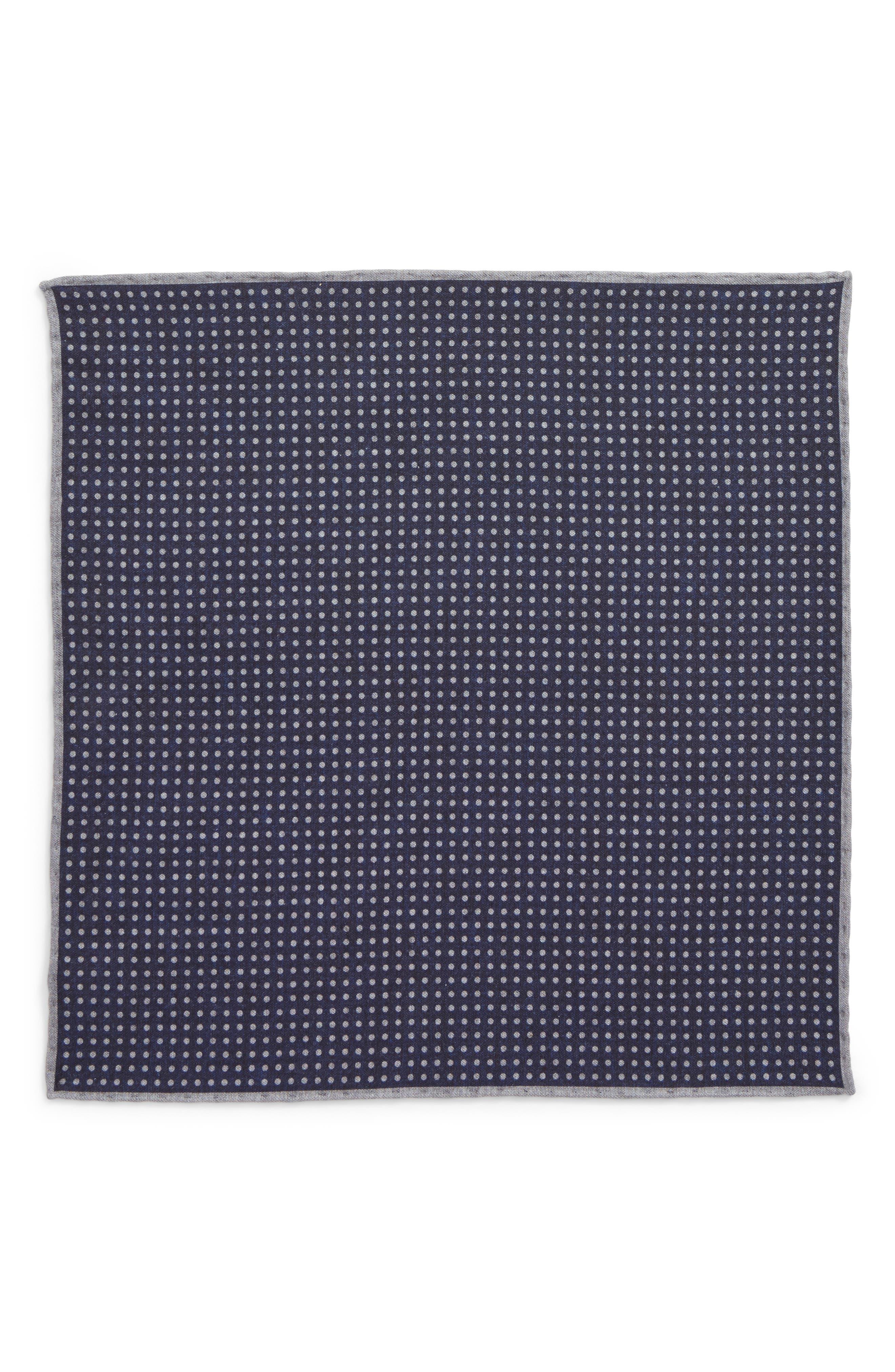 Dot Wool & Cotton Pocket Square,                             Alternate thumbnail 2, color,                             NAVY