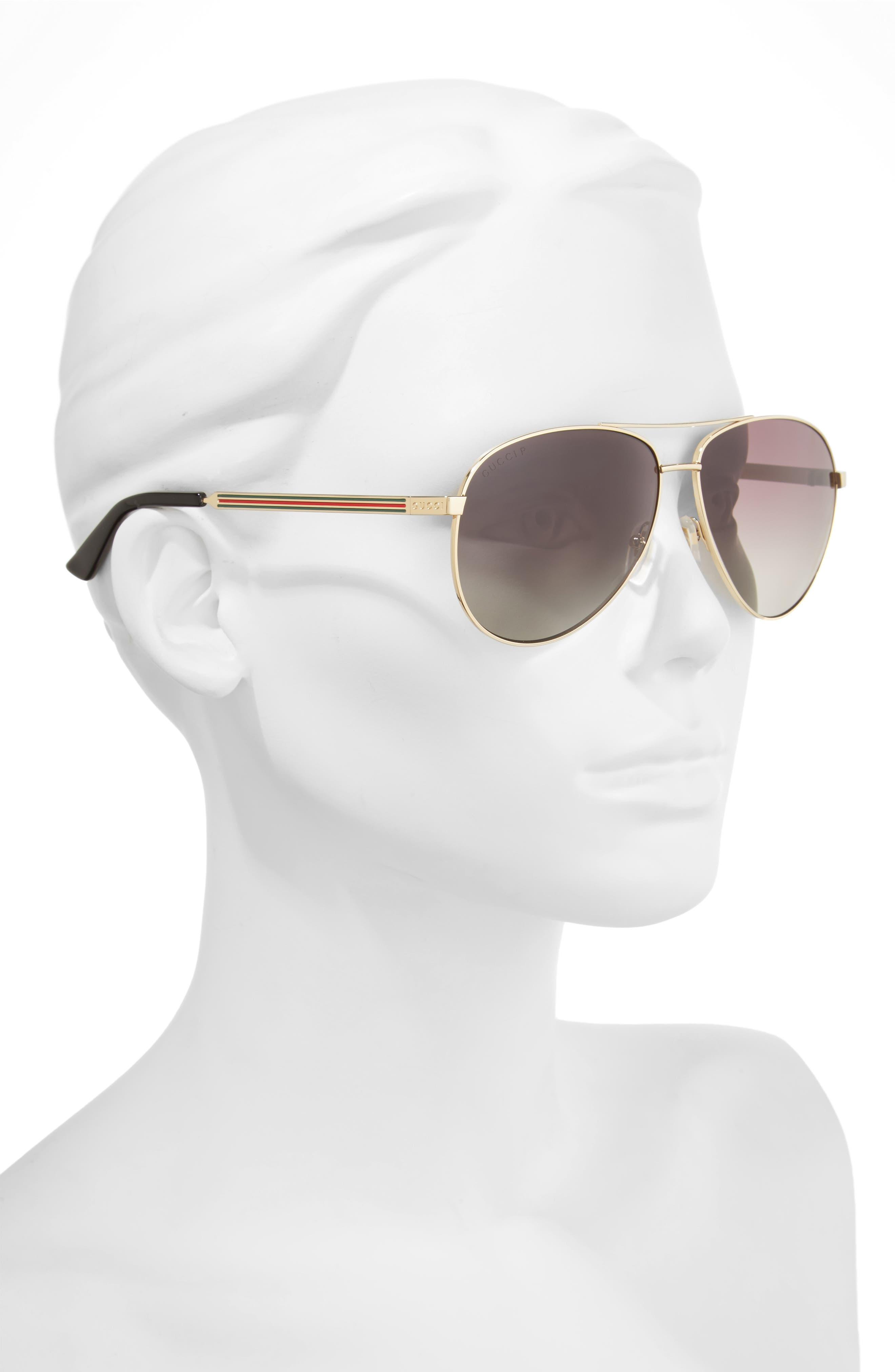 61mm Polarized Aviator Sunglasses,                             Alternate thumbnail 2, color,                             710
