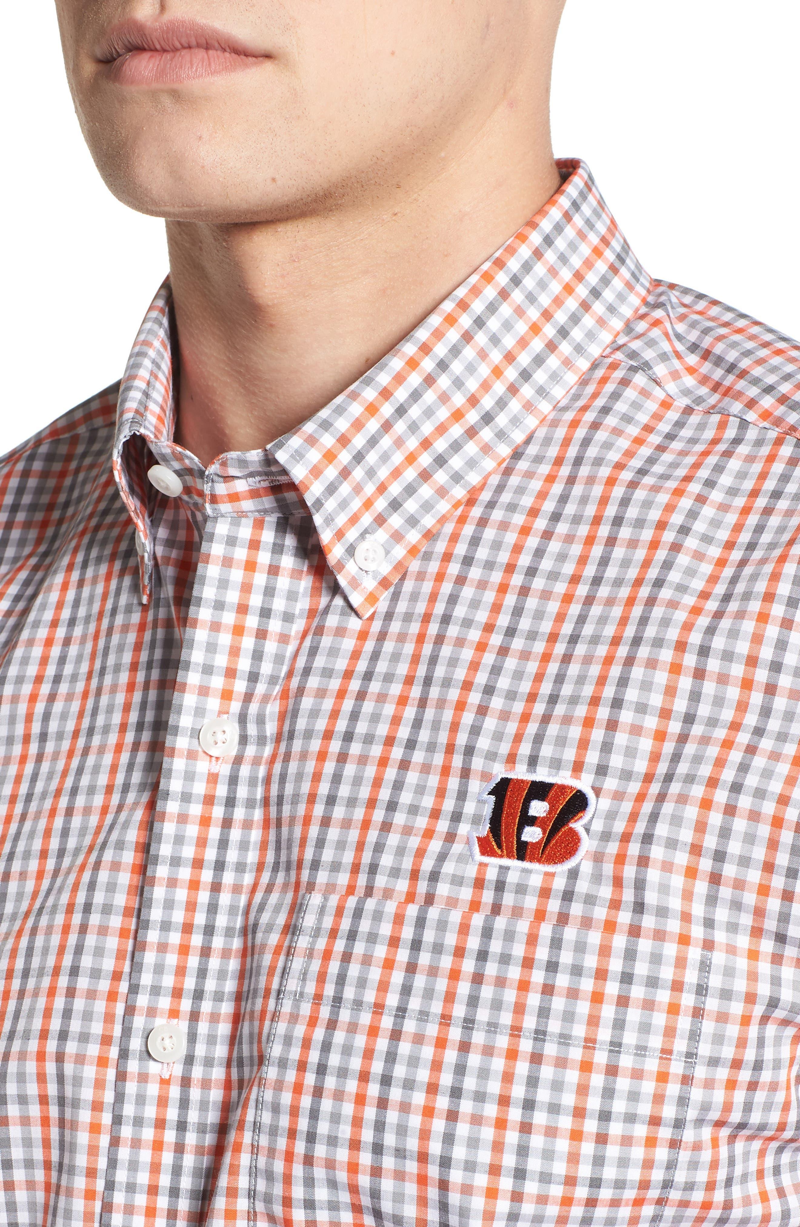 Cincinnati Bengals - Gilman Regular Fit Plaid Sport Shirt,                             Alternate thumbnail 4, color,                             COLLEGE ORANGE