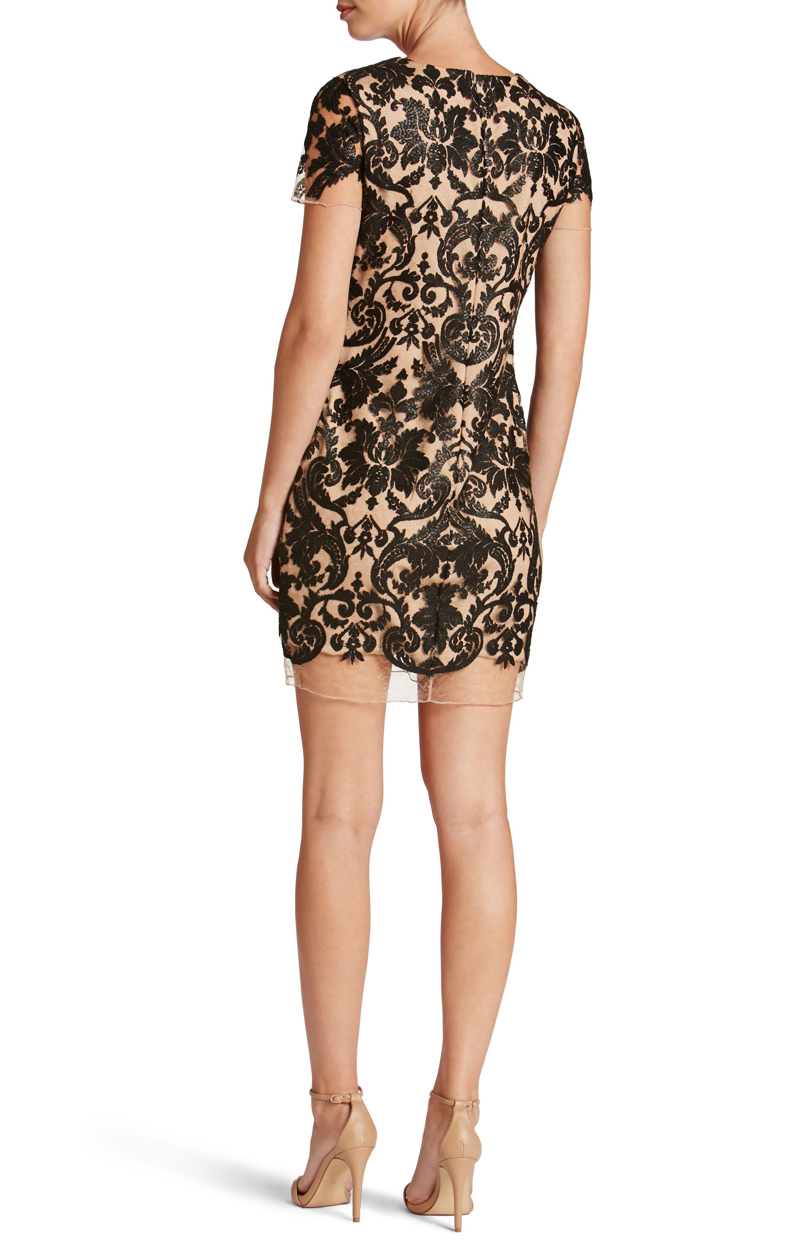 Megan Sequin Lace Sheath Dress,                             Alternate thumbnail 2, color,                             014