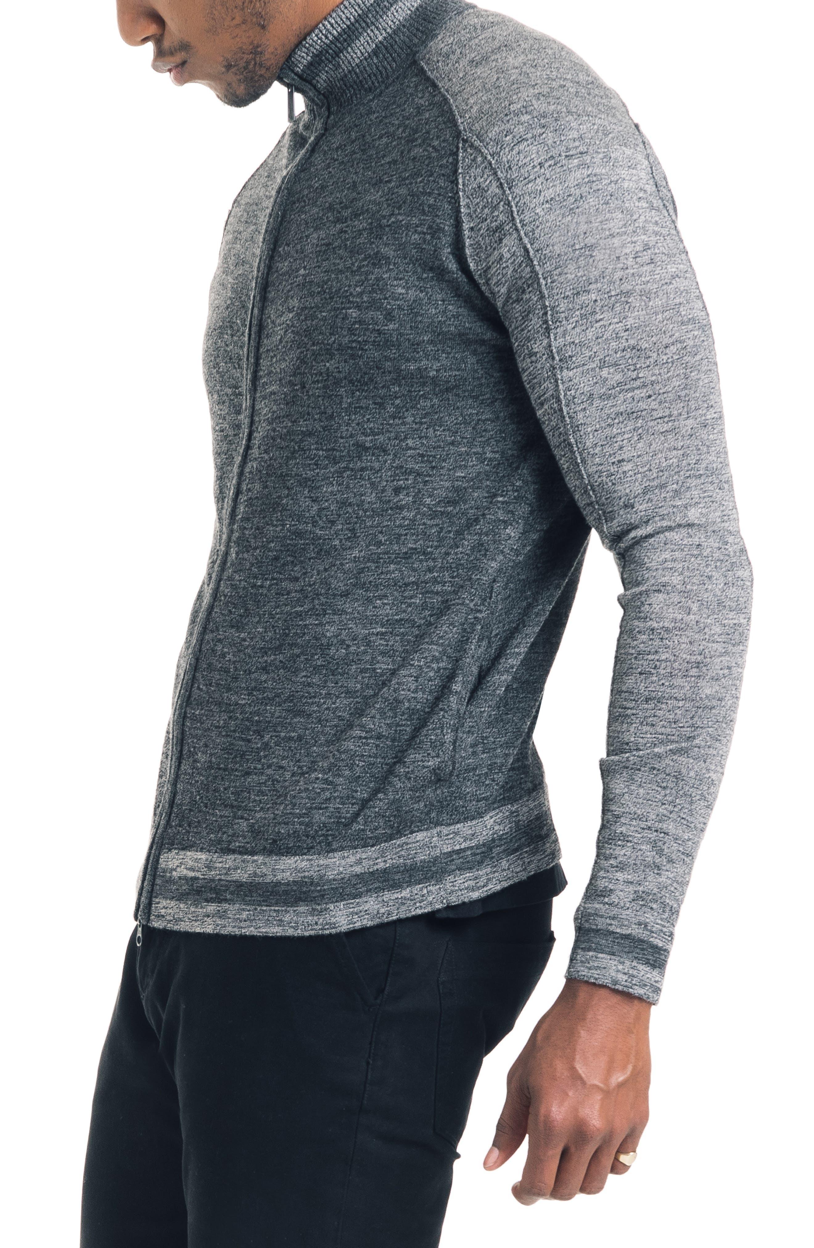 Modern Slim Fit Merino Wool Track Jacket,                             Alternate thumbnail 3, color,                             BLACK