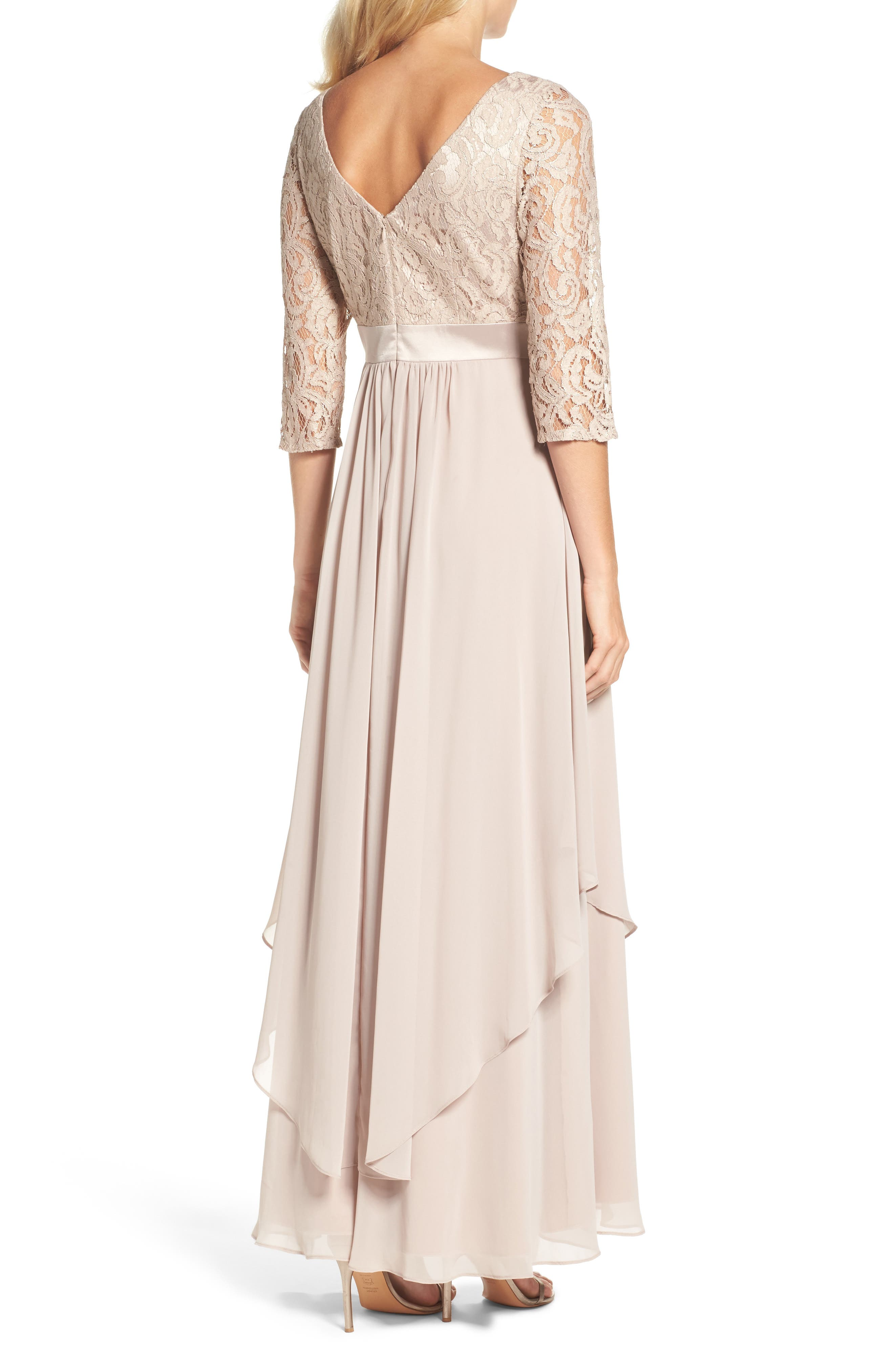 Embellished Lace & Chiffon Gown,                             Alternate thumbnail 3, color,                             256
