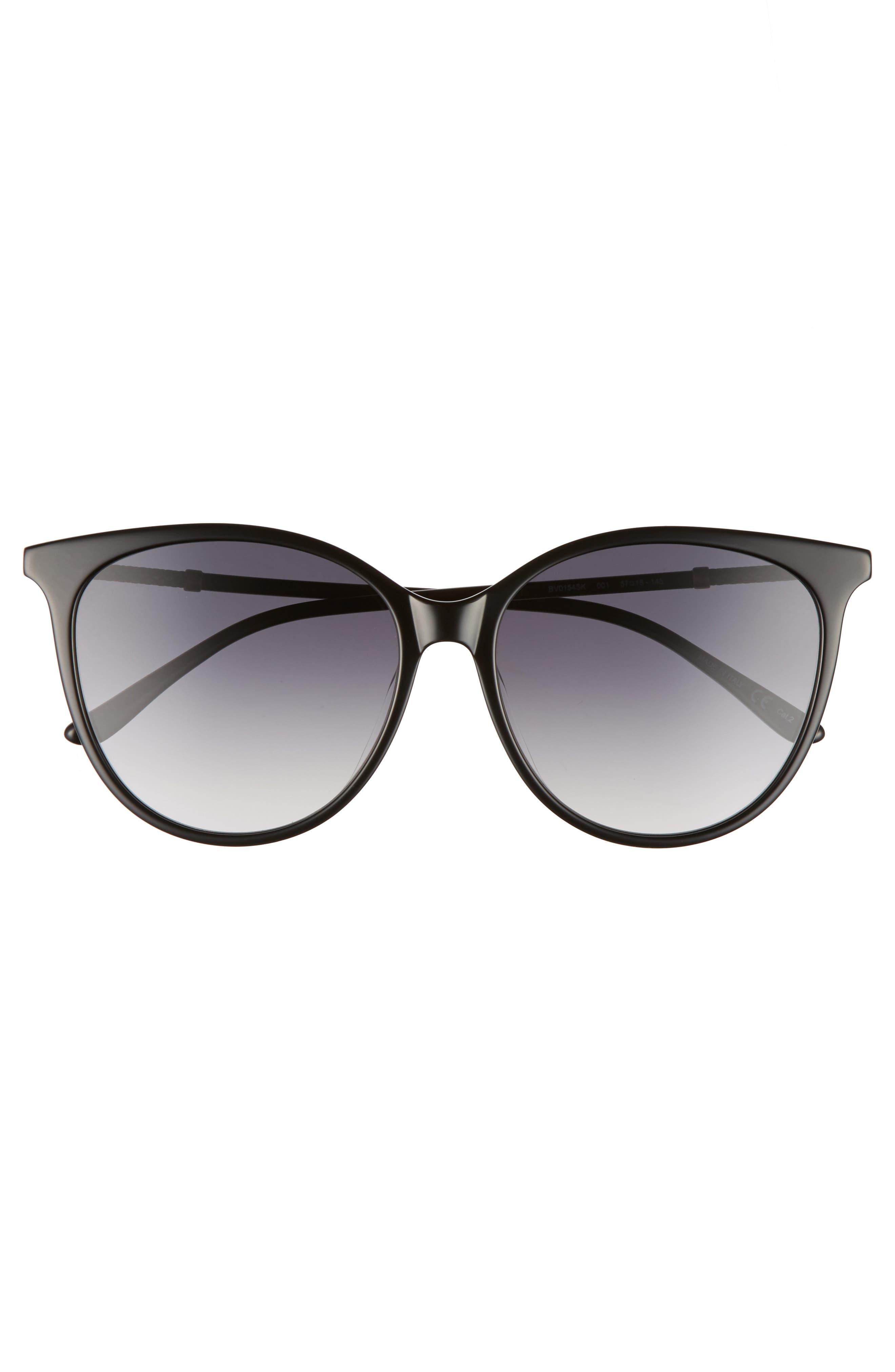 57mm Cat Eye Sunglasses,                             Alternate thumbnail 3, color,                             001