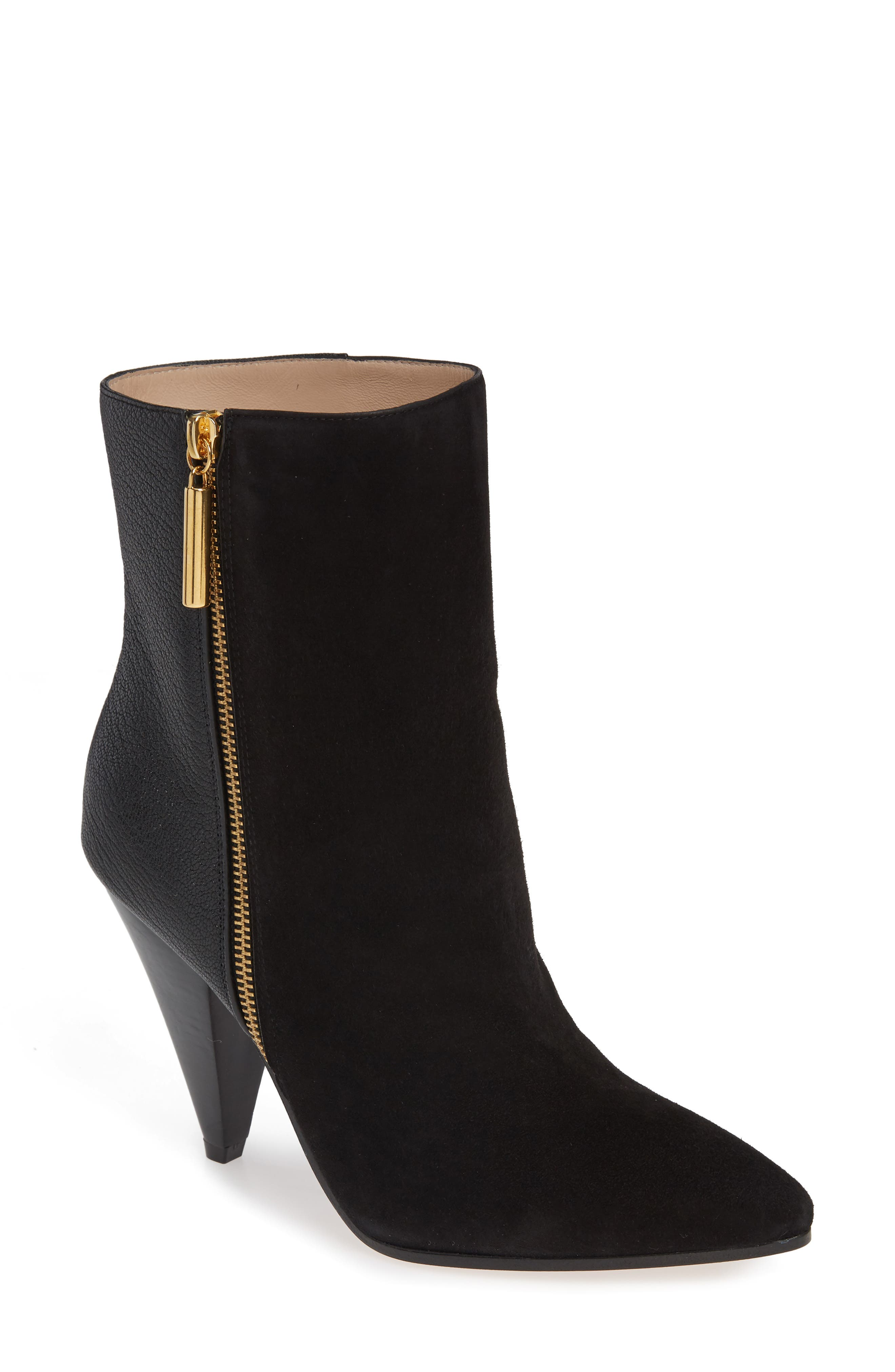 Cone Heel Bootie,                             Main thumbnail 1, color,                             PITCH BLACK COMBO SUEDE