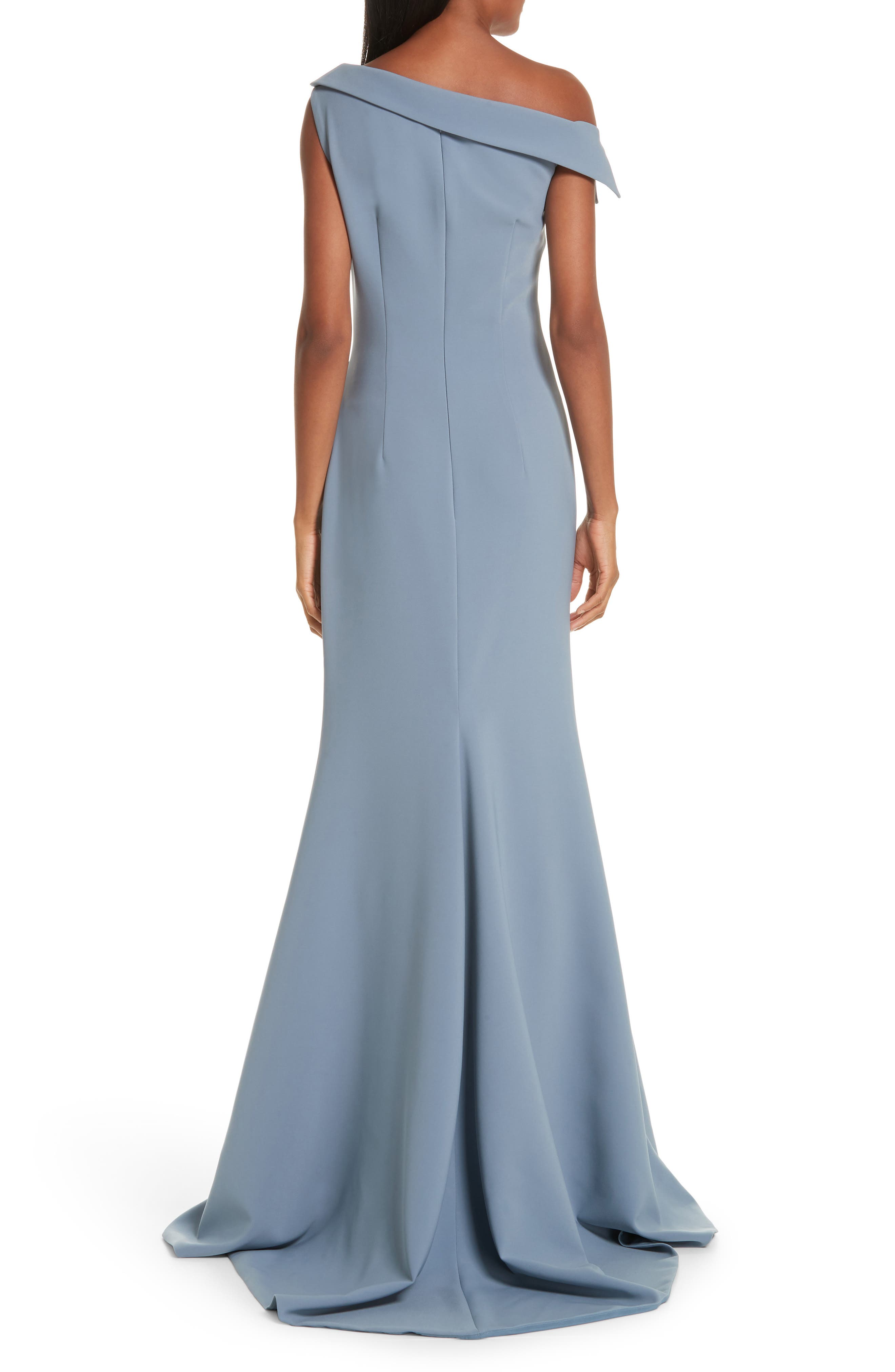 One-Shoulder Evening Dress,                             Alternate thumbnail 2, color,                             SHADOW BLUE