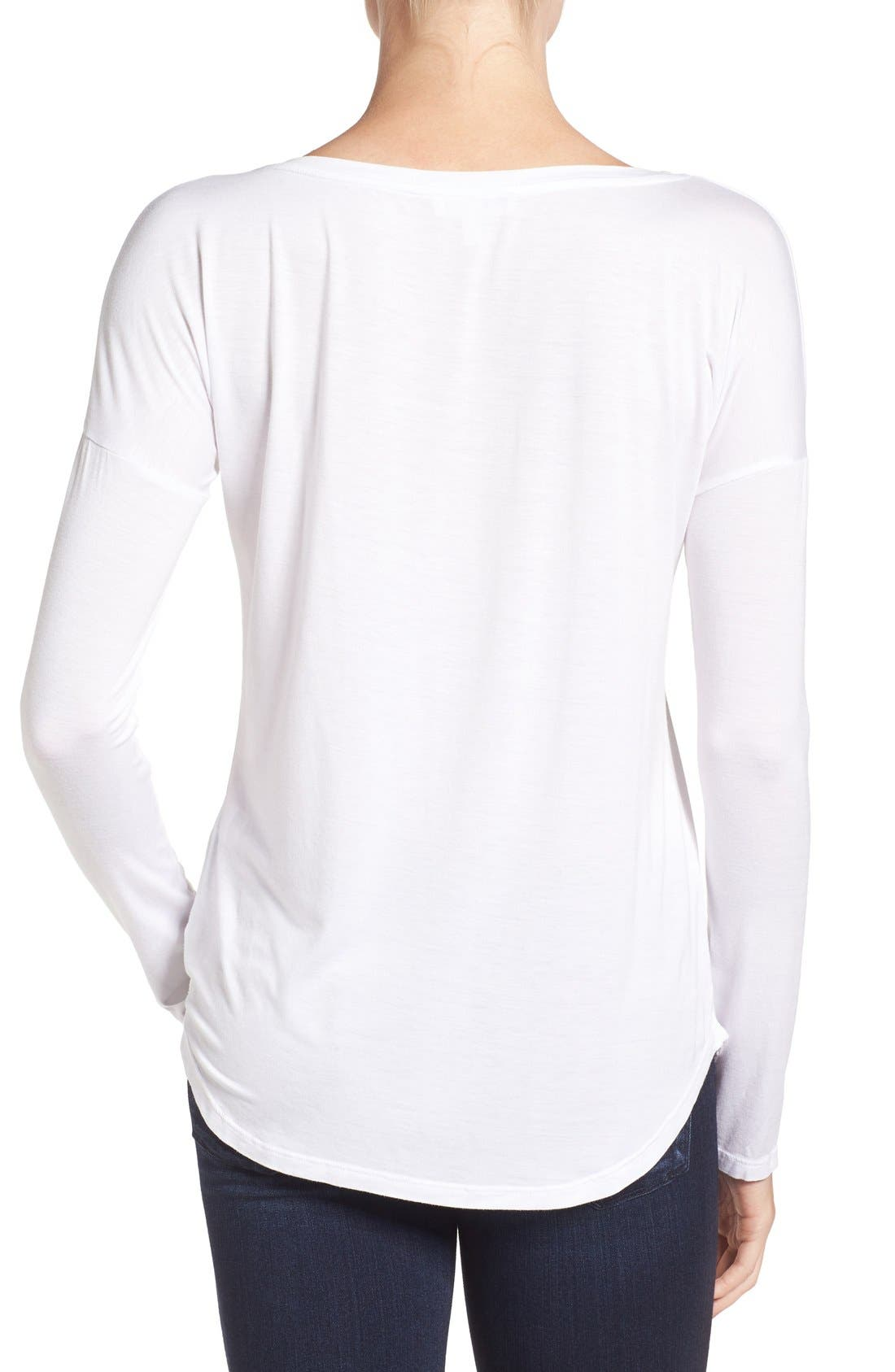 'Bess' Stretch Jersey Boatneck Tee,                             Alternate thumbnail 6, color,